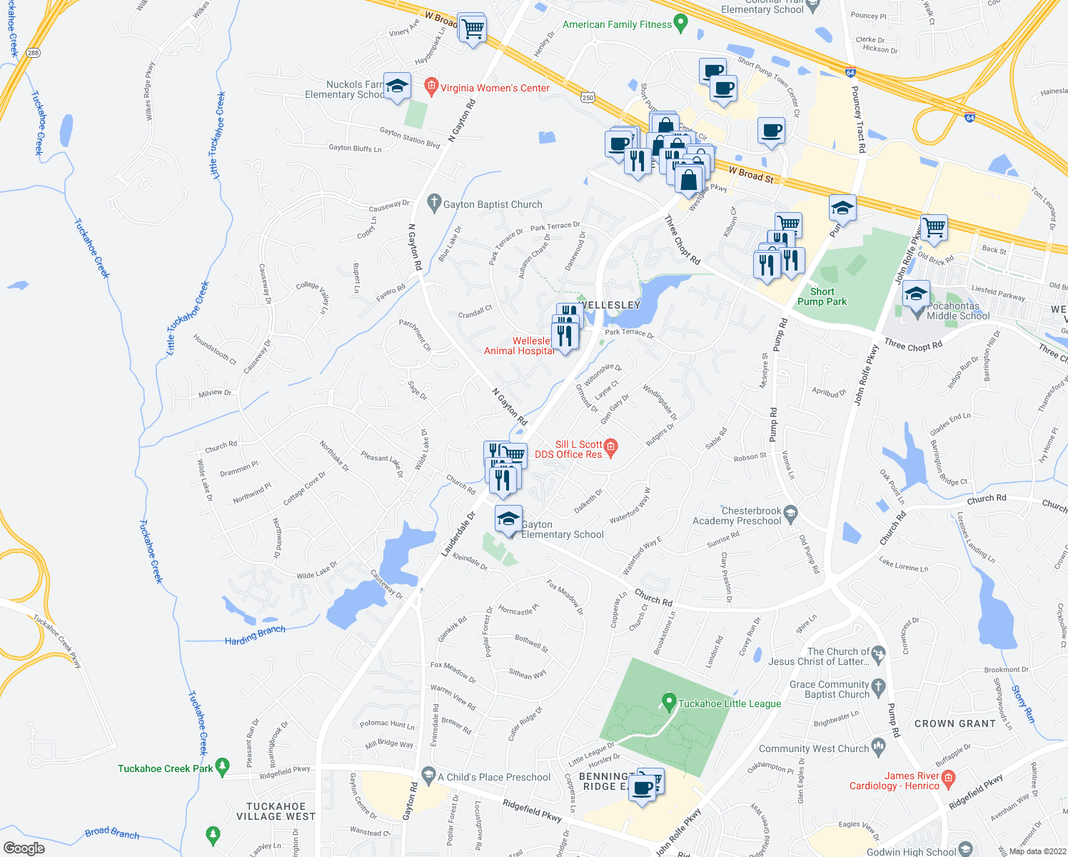 map of restaurants, bars, coffee shops, grocery stores, and more near 3200 Lauderdale Drive in Richmond