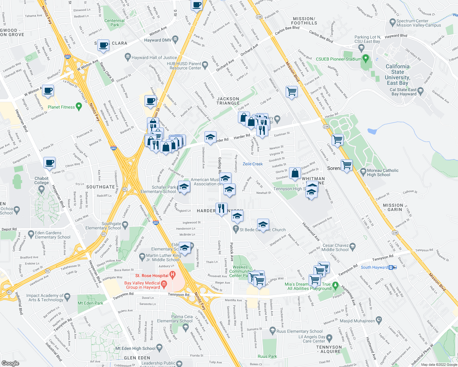 map of restaurants, bars, coffee shops, grocery stores, and more near 310 Dumont Ave in Hayward