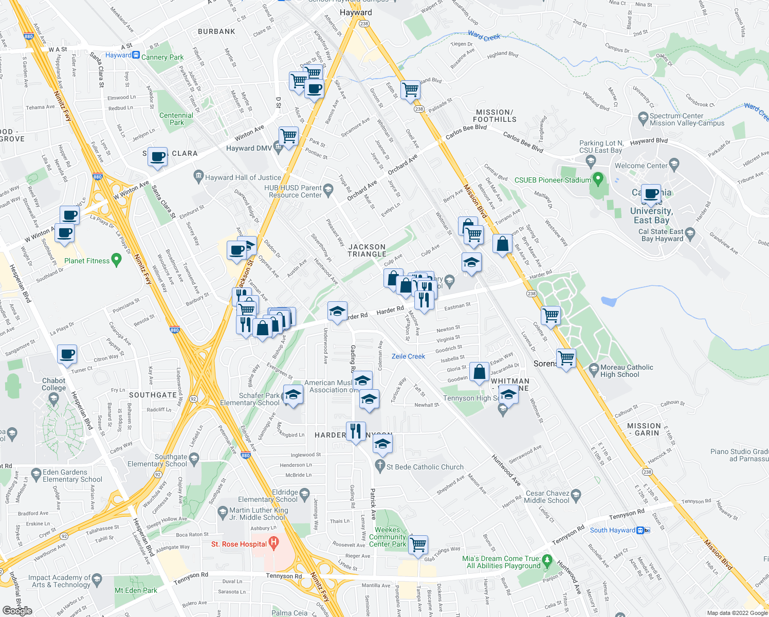 map of restaurants, bars, coffee shops, grocery stores, and more near 2 Brookstone Way in Hayward