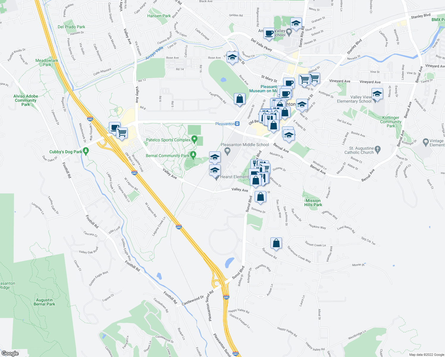 map of restaurants, bars, coffee shops, grocery stores, and more near 5300 Case Ave in Pleasanton