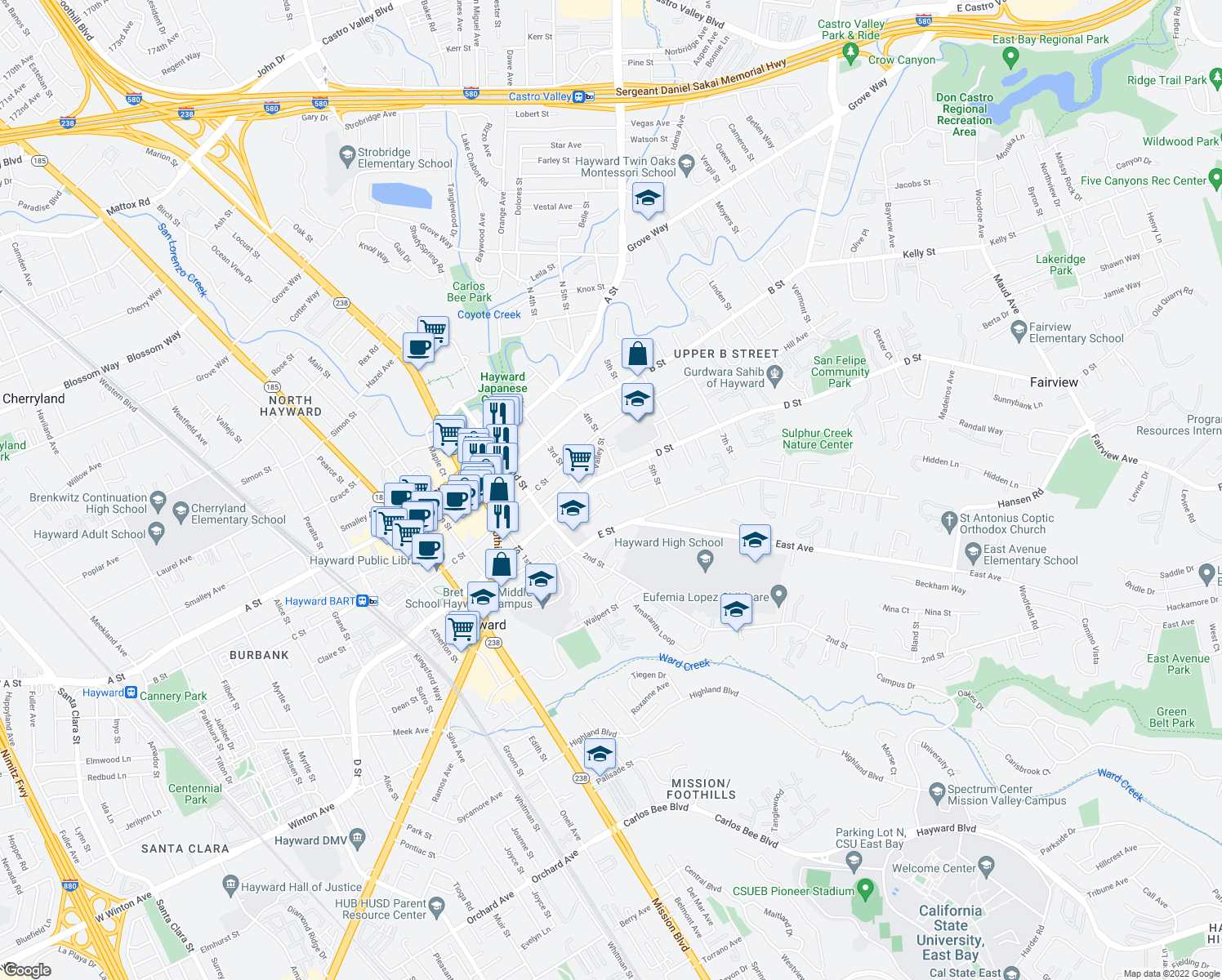 map of restaurants, bars, coffee shops, grocery stores, and more near 1318 High St in Hayward