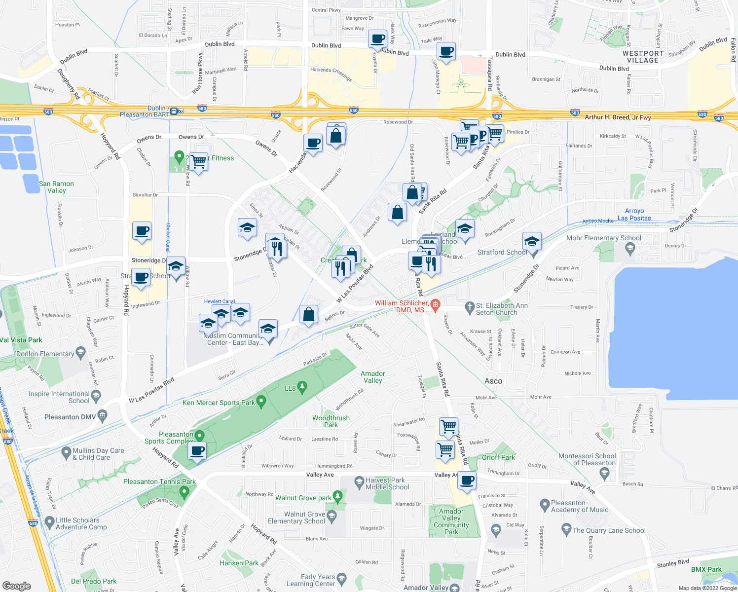 map of restaurants, bars, coffee shops, grocery stores, and more near 5505 Springhouse Drive in Pleasanton