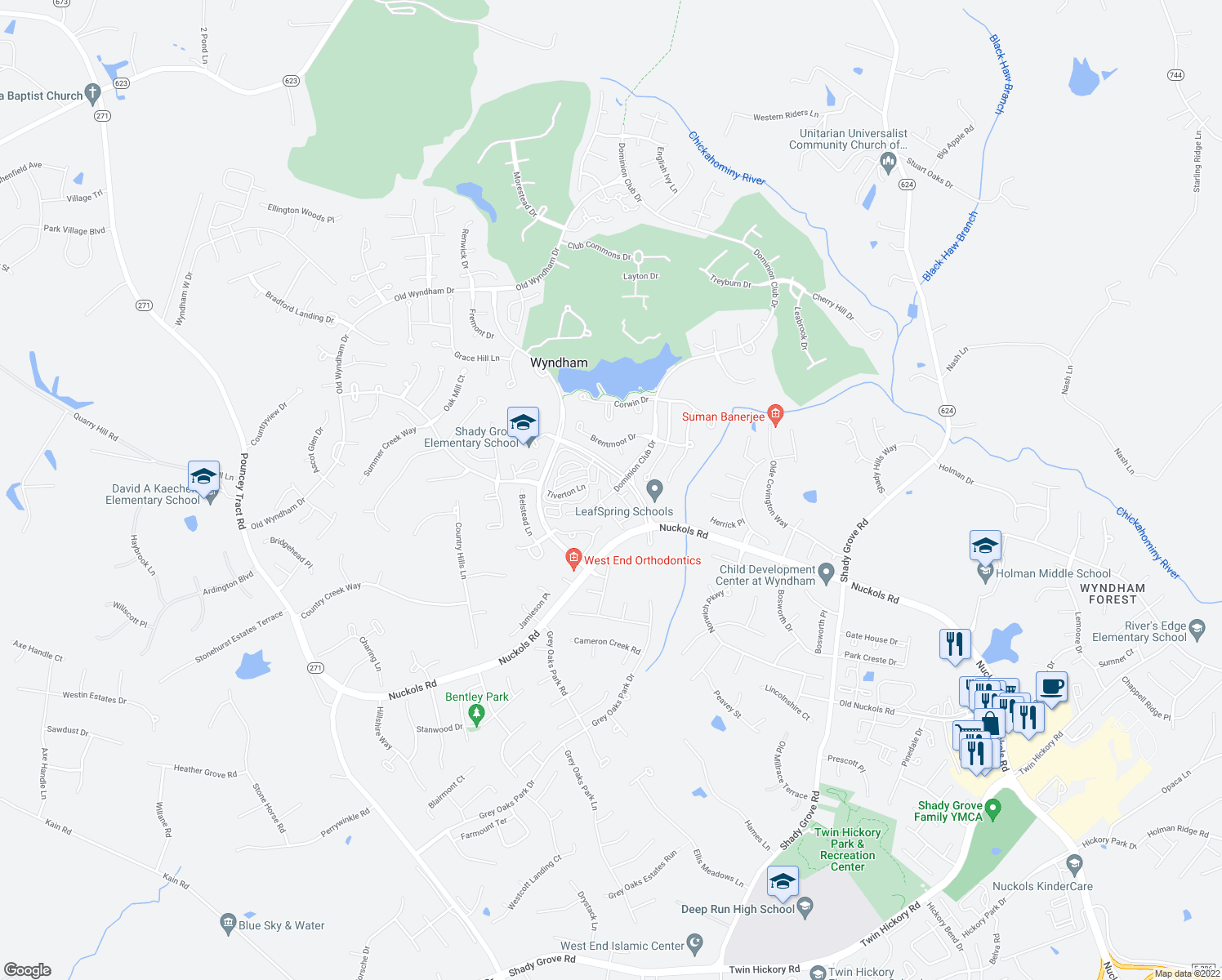 map of restaurants, bars, coffee shops, grocery stores, and more near 10000-10016 Mulholland Drive in Glen Allen