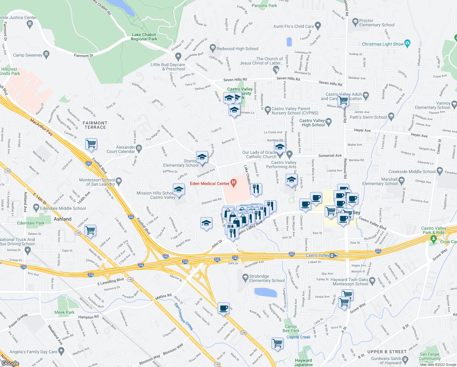 map of restaurants, bars, coffee shops, grocery stores, and more near 20000-20090 Stanton Ave in Castro Valley