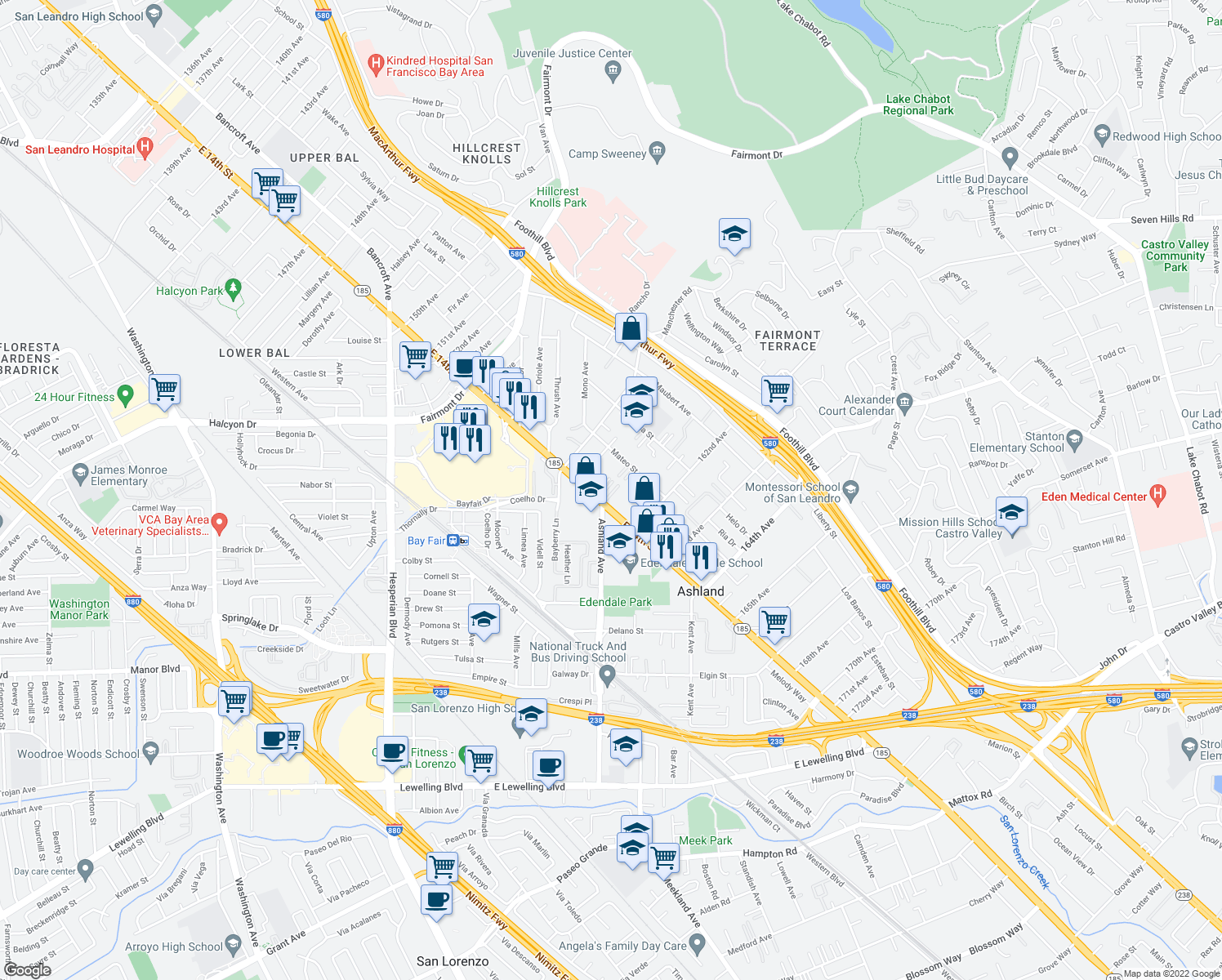 map of restaurants, bars, coffee shops, grocery stores, and more near 16006 East 14th Street in San Leandro