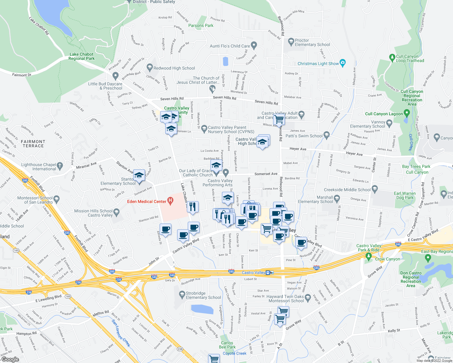 map of restaurants, bars, coffee shops, grocery stores, and more near 19807 San Miguel Avenue in Castro Valley