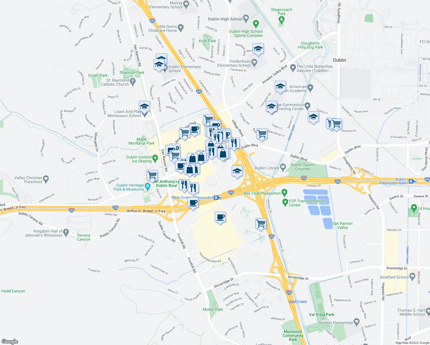 map of restaurants, bars, coffee shops, grocery stores, and more near 6499-6531 Golden Gate Drive in Dublin