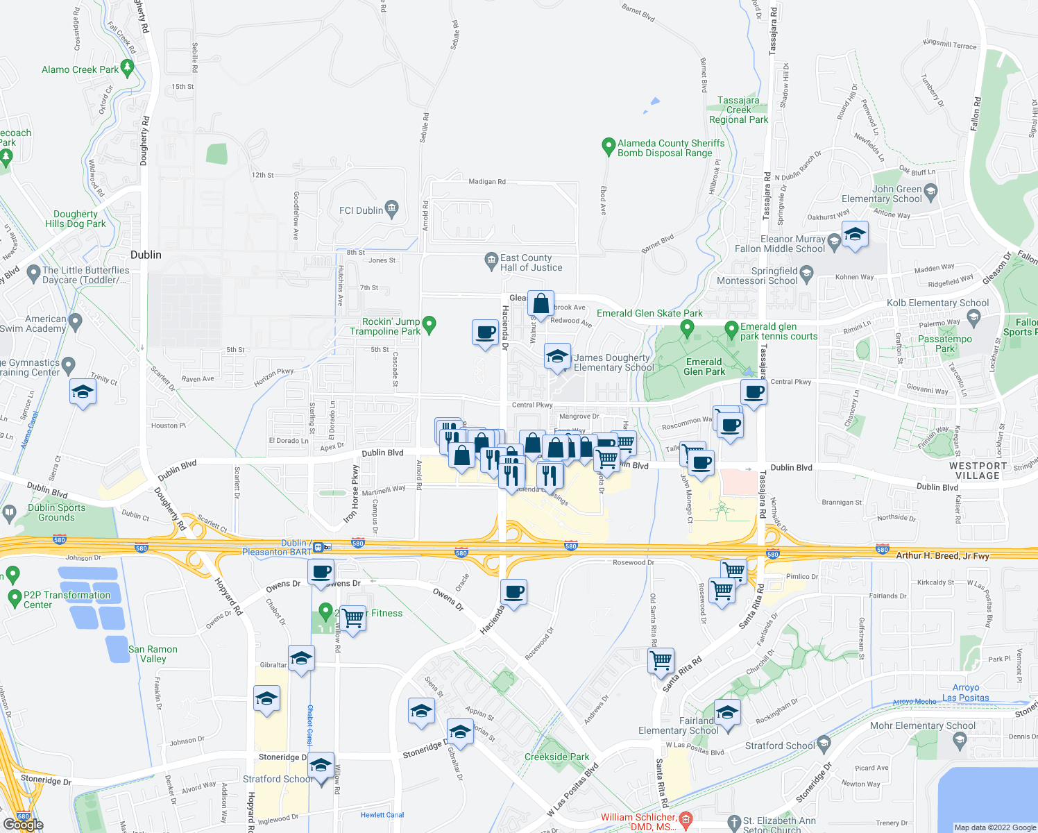 map of restaurants, bars, coffee shops, grocery stores, and more near 4770-4898 Central Parkway in Dublin