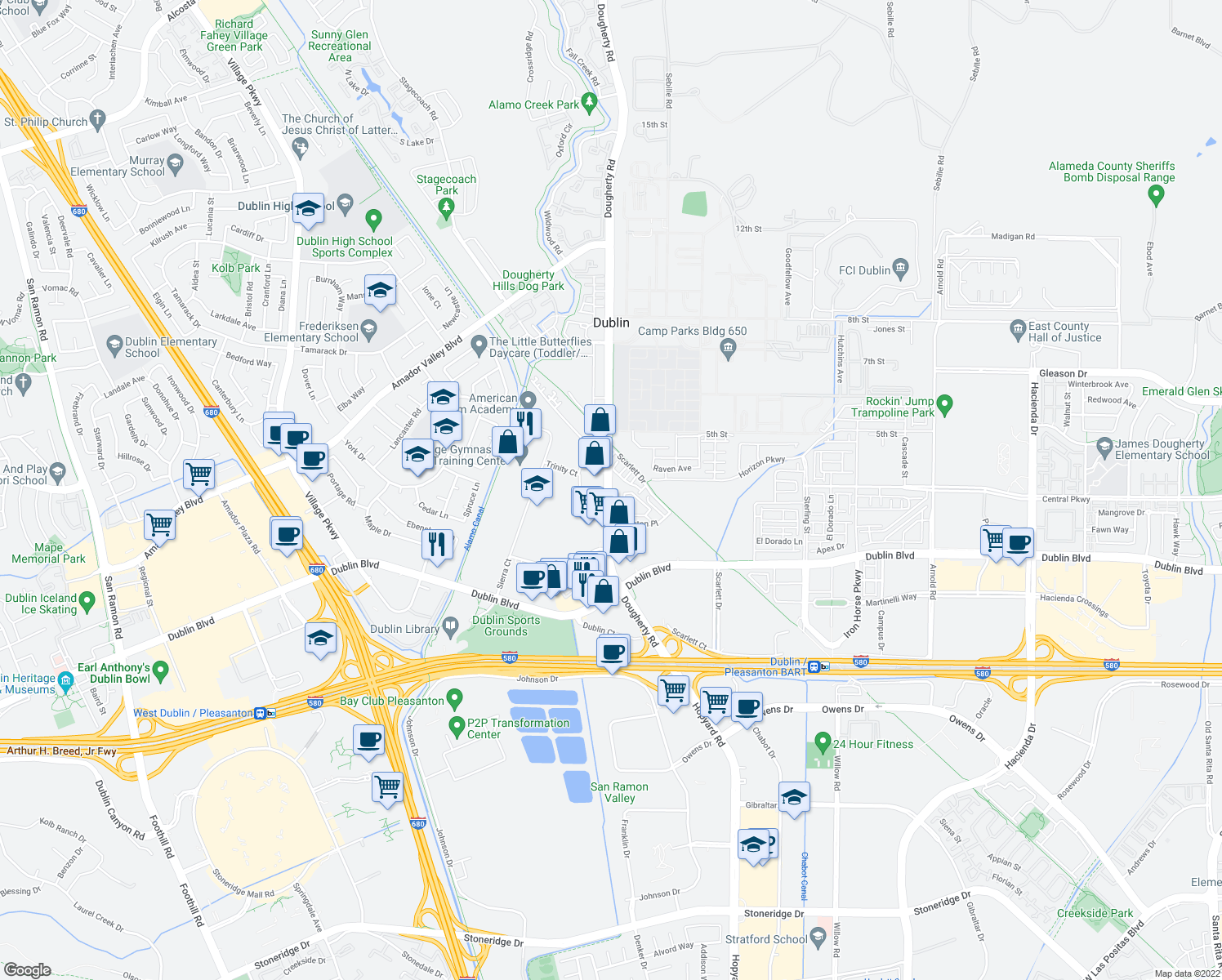 map of restaurants, bars, coffee shops, grocery stores, and more near 6233 Dougherty Rd in Dublin