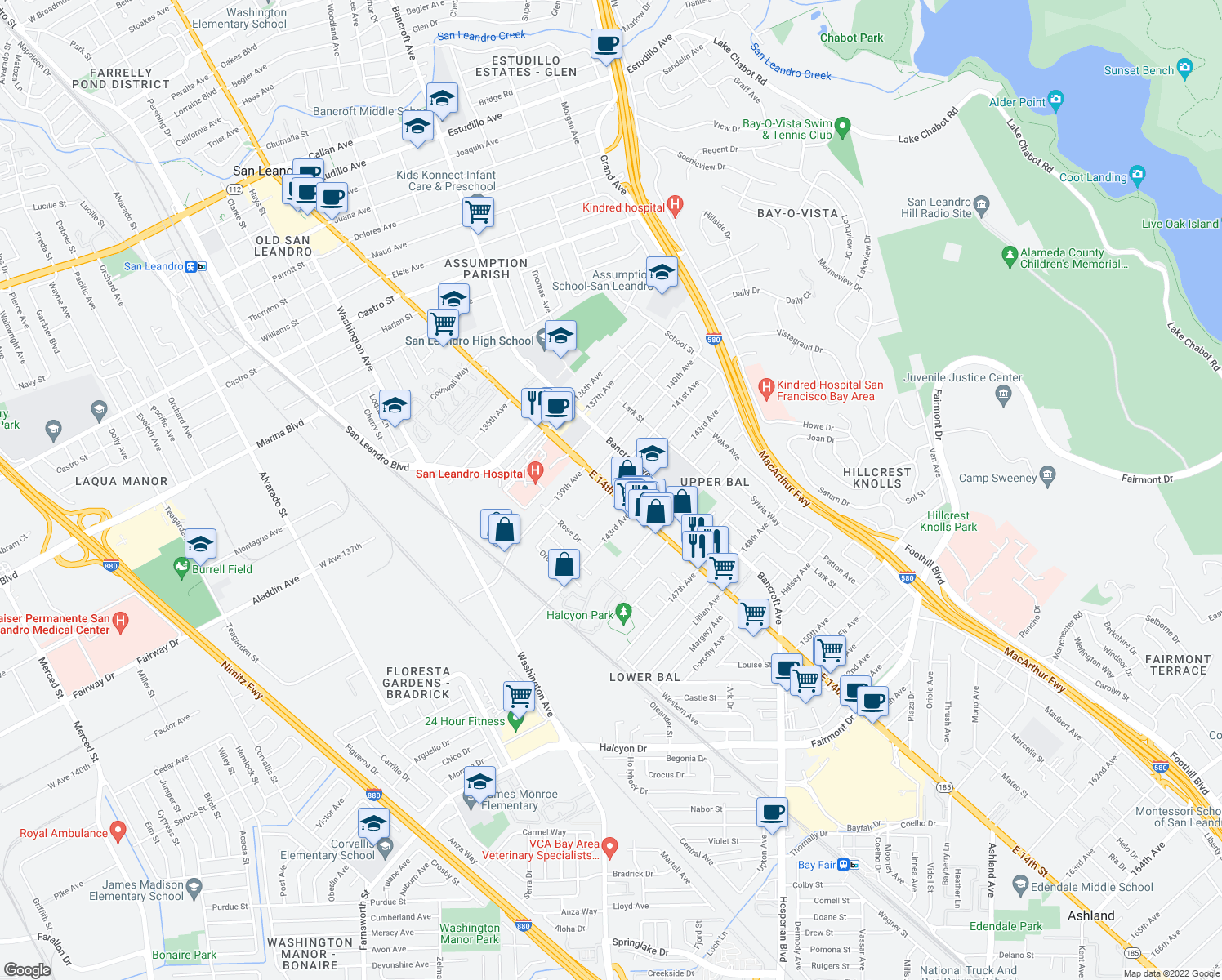 map of restaurants, bars, coffee shops, grocery stores, and more near 1251 141st Ave in San Leandro