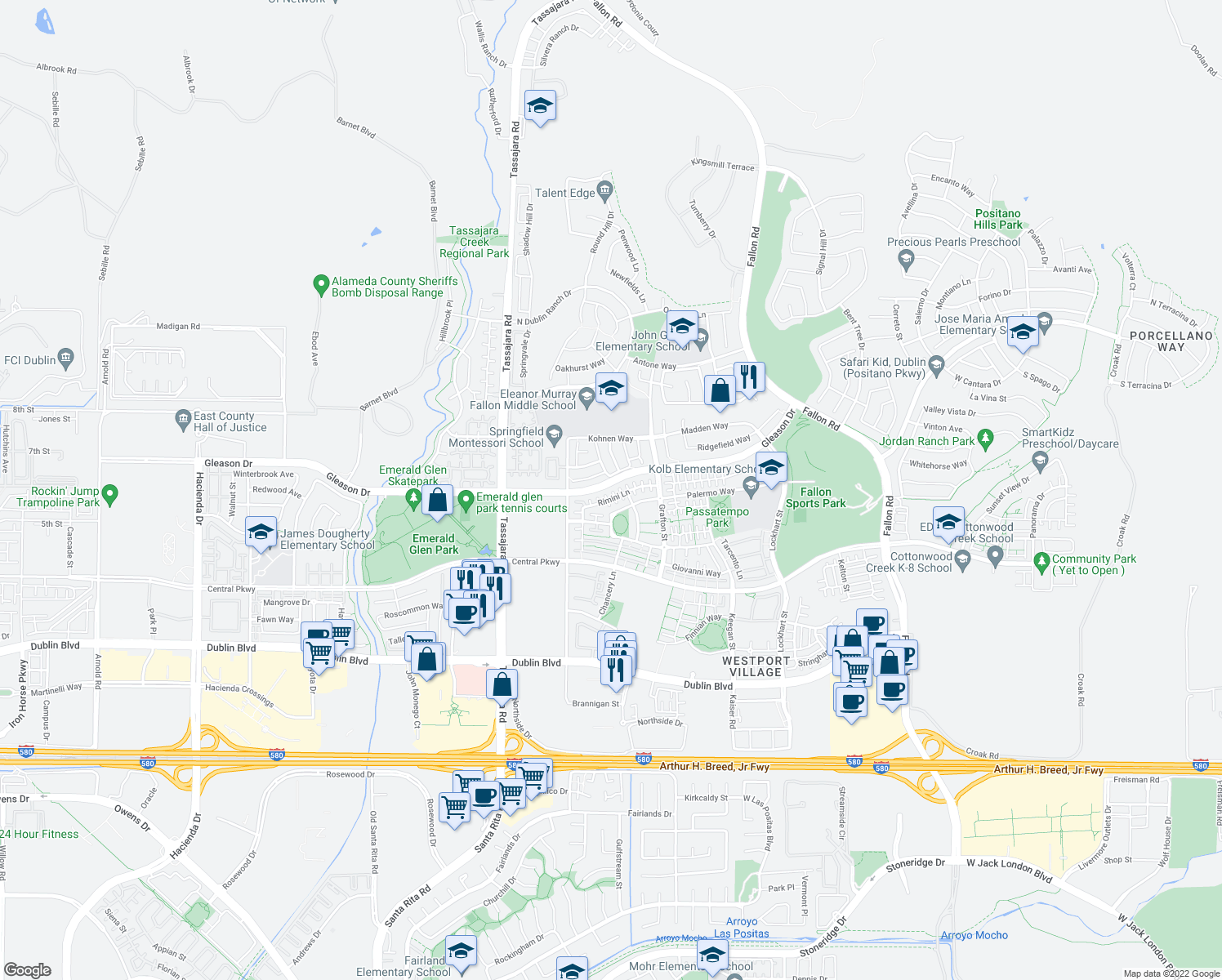 map of restaurants, bars, coffee shops, grocery stores, and more near 3617 Rimini Lane in Dublin