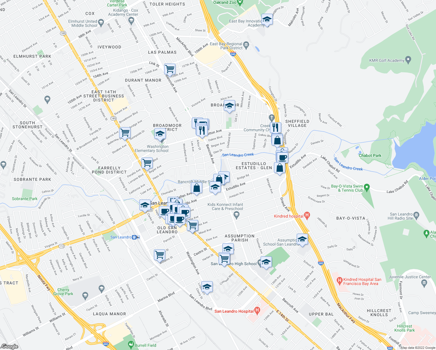 map of restaurants, bars, coffee shops, grocery stores, and more near 1060 Bancroft Avenue in San Leandro