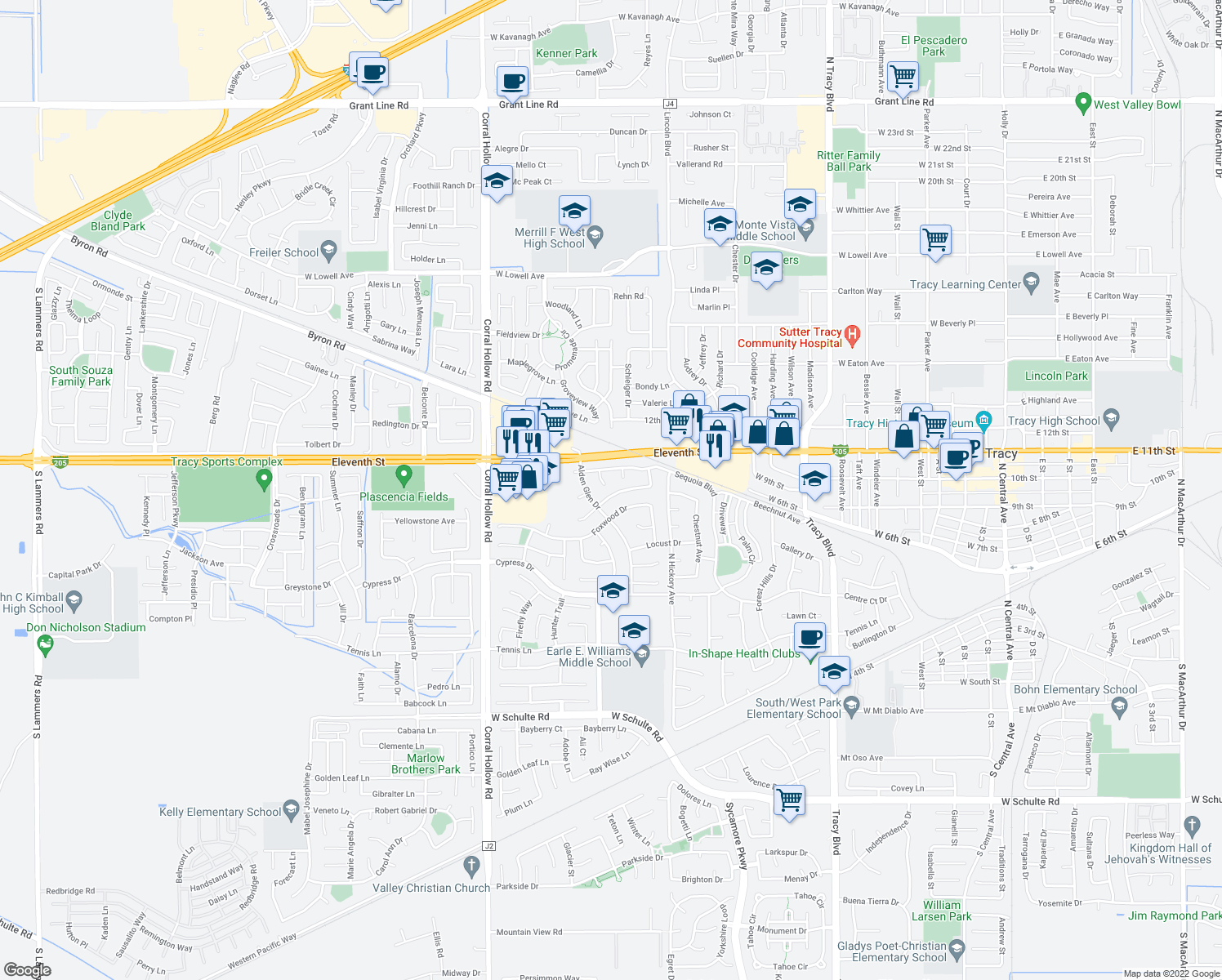 map of restaurants, bars, coffee shops, grocery stores, and more near 1655 Meadow Lark Ln in Tracy