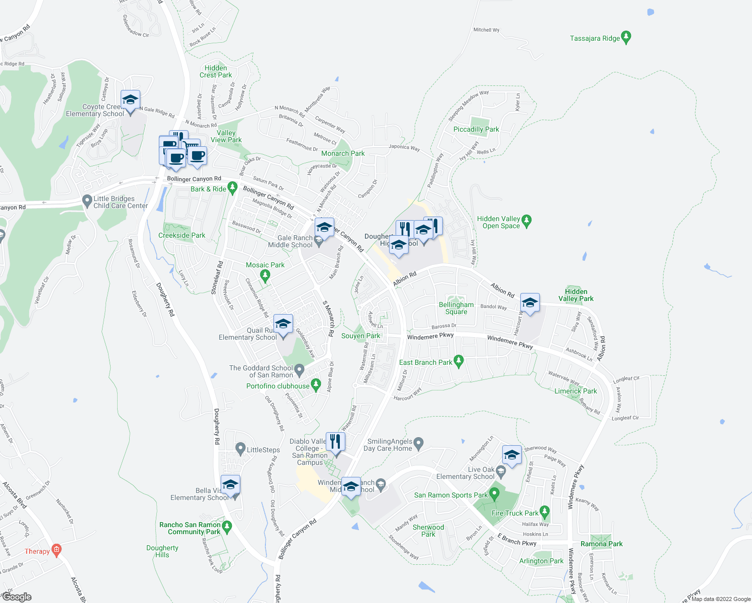 map of restaurants, bars, coffee shops, grocery stores, and more near 1 Amberstone Ln in San Ramon