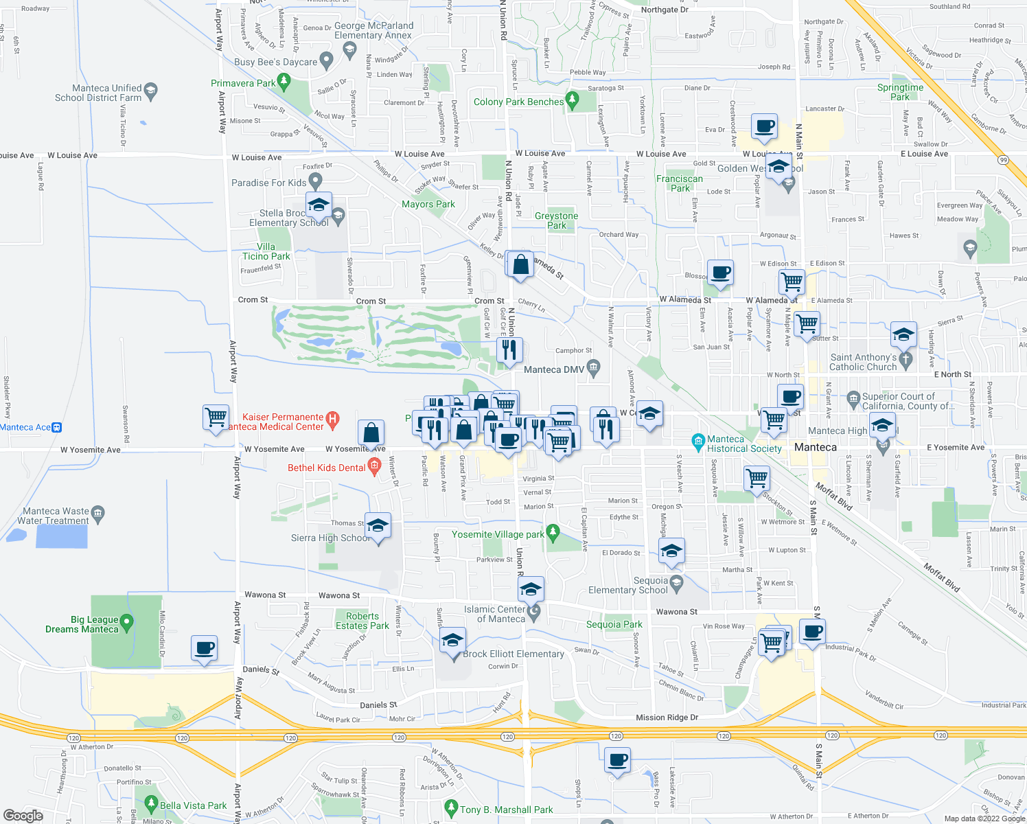 map of restaurants, bars, coffee shops, grocery stores, and more near N Union Rd & Center St in Manteca