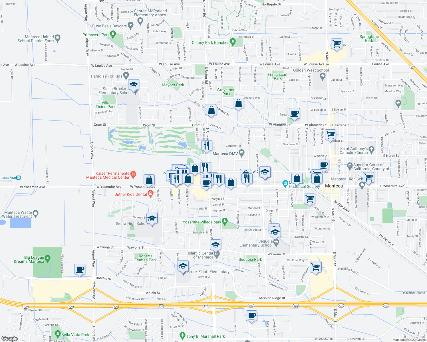 map of restaurants, bars, coffee shops, grocery stores, and more near 1145 West Yosemite Avenue in Manteca