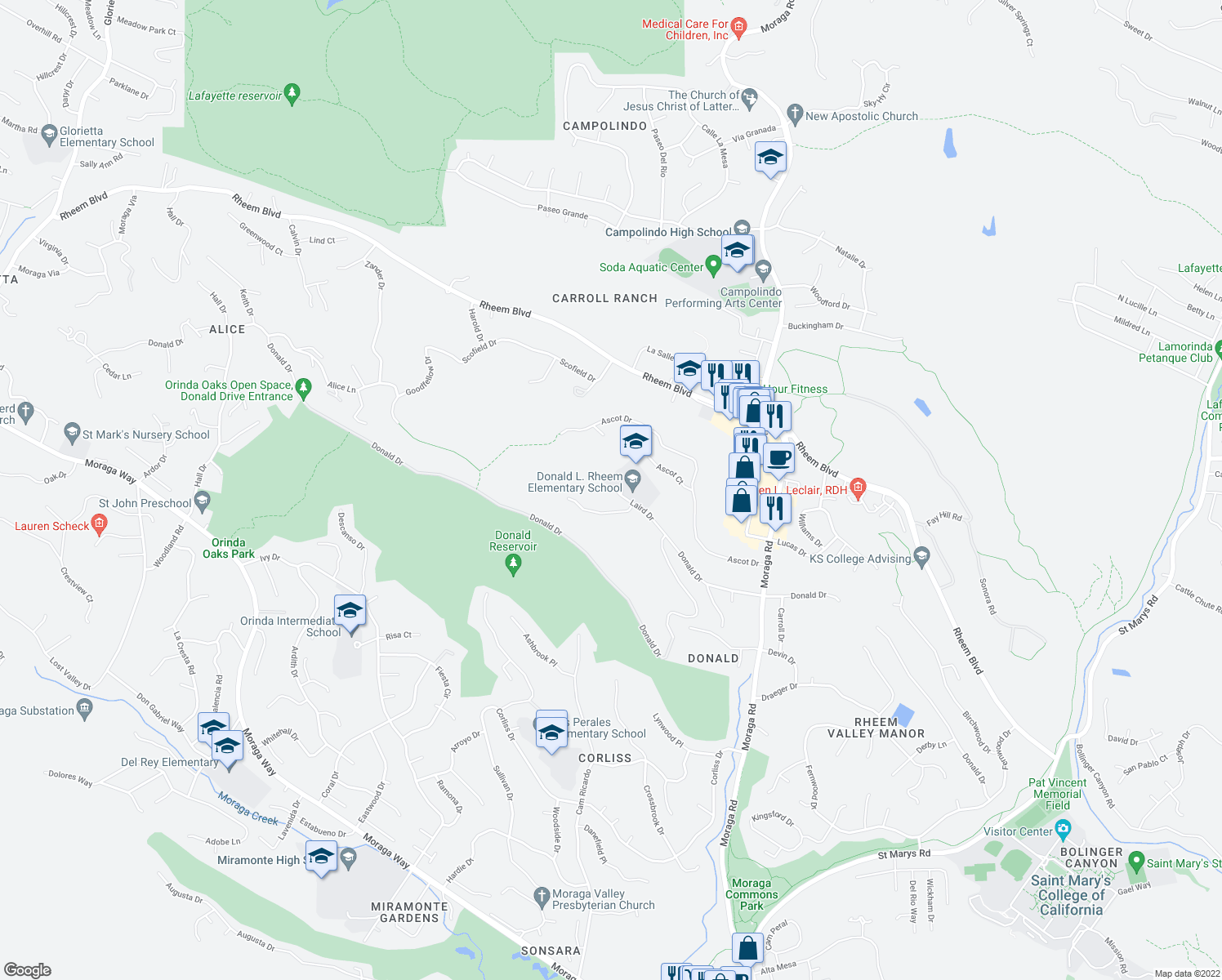 map of restaurants, bars, coffee shops, grocery stores, and more near 51 Laird Drive in Moraga