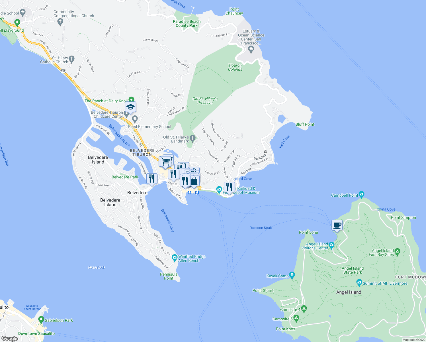 map of restaurants, bars, coffee shops, grocery stores, and more near 1877 Centro W St in Tiburon