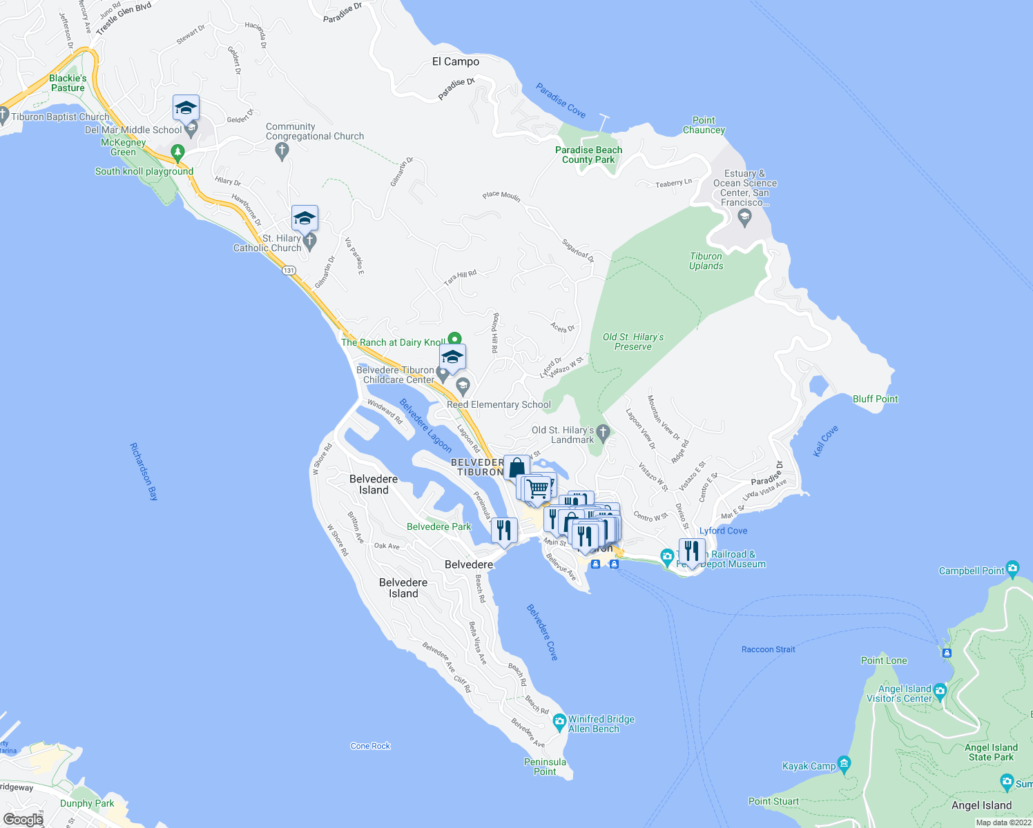 map of restaurants, bars, coffee shops, grocery stores, and more near 2-98 Corinthian Ct in Tiburon