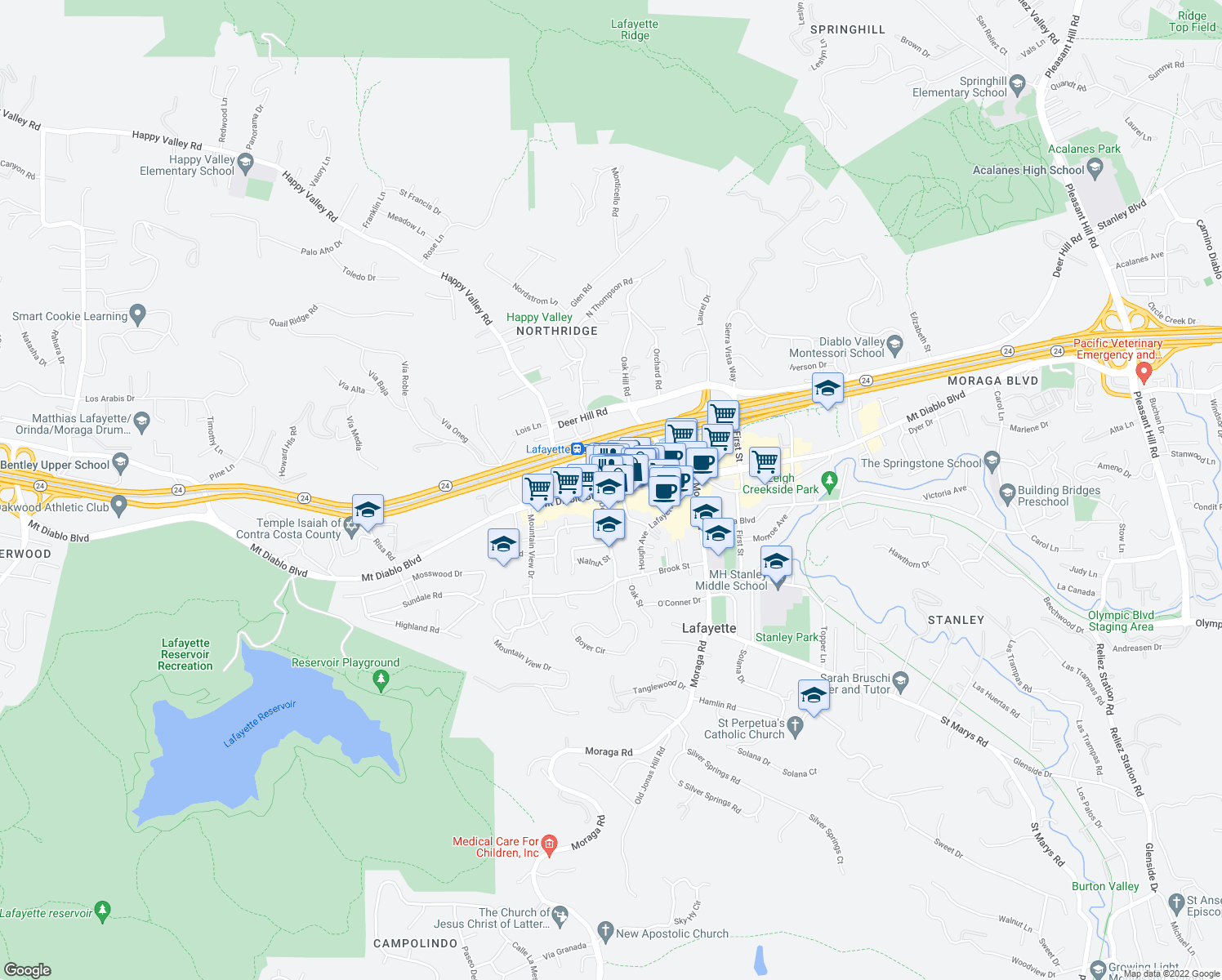 map of restaurants, bars, coffee shops, grocery stores, and more near 3583-3587 Mount Diablo Boulevard in Lafayette