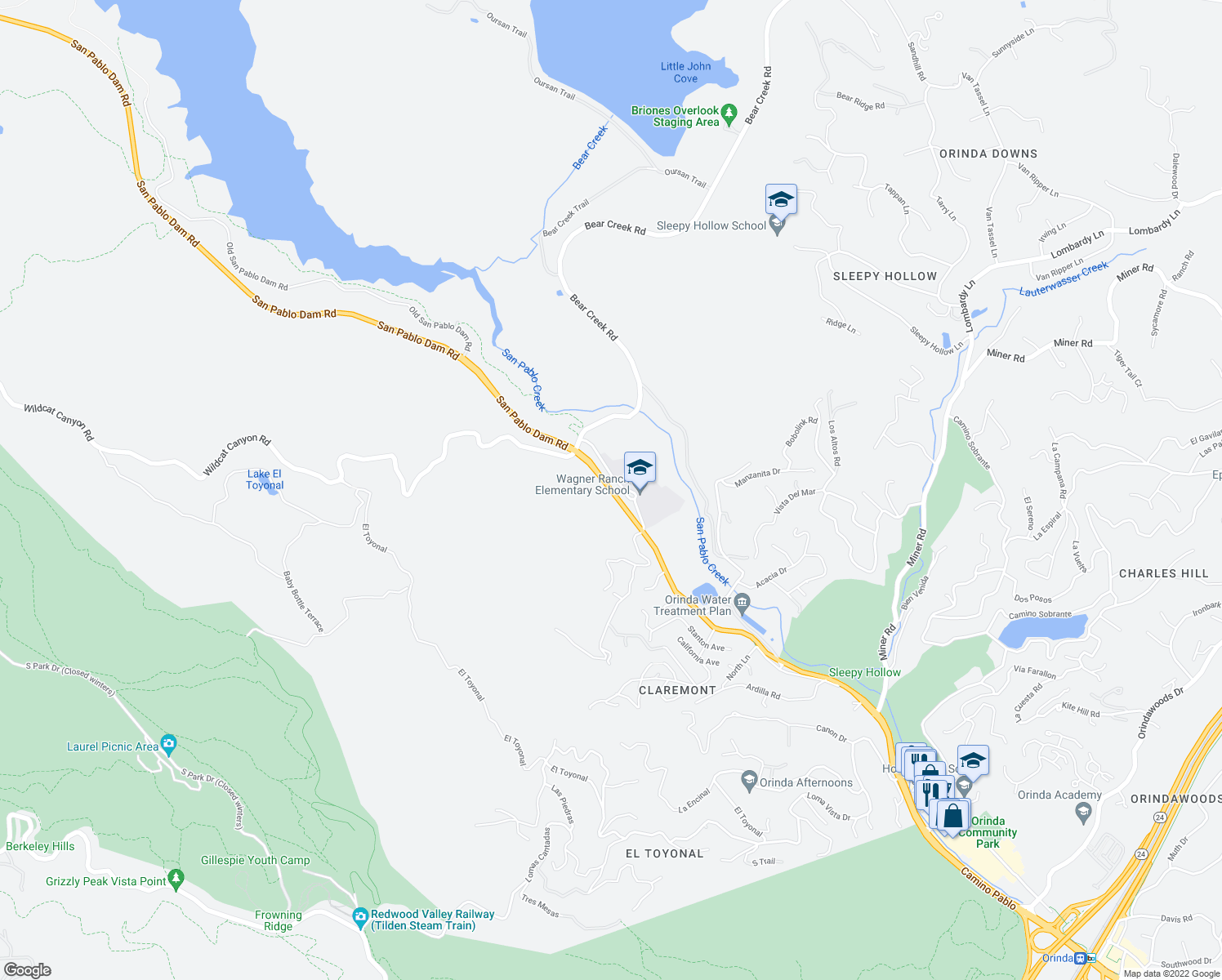 map of restaurants, bars, coffee shops, grocery stores, and more near 350 Camino Pablo in Orinda
