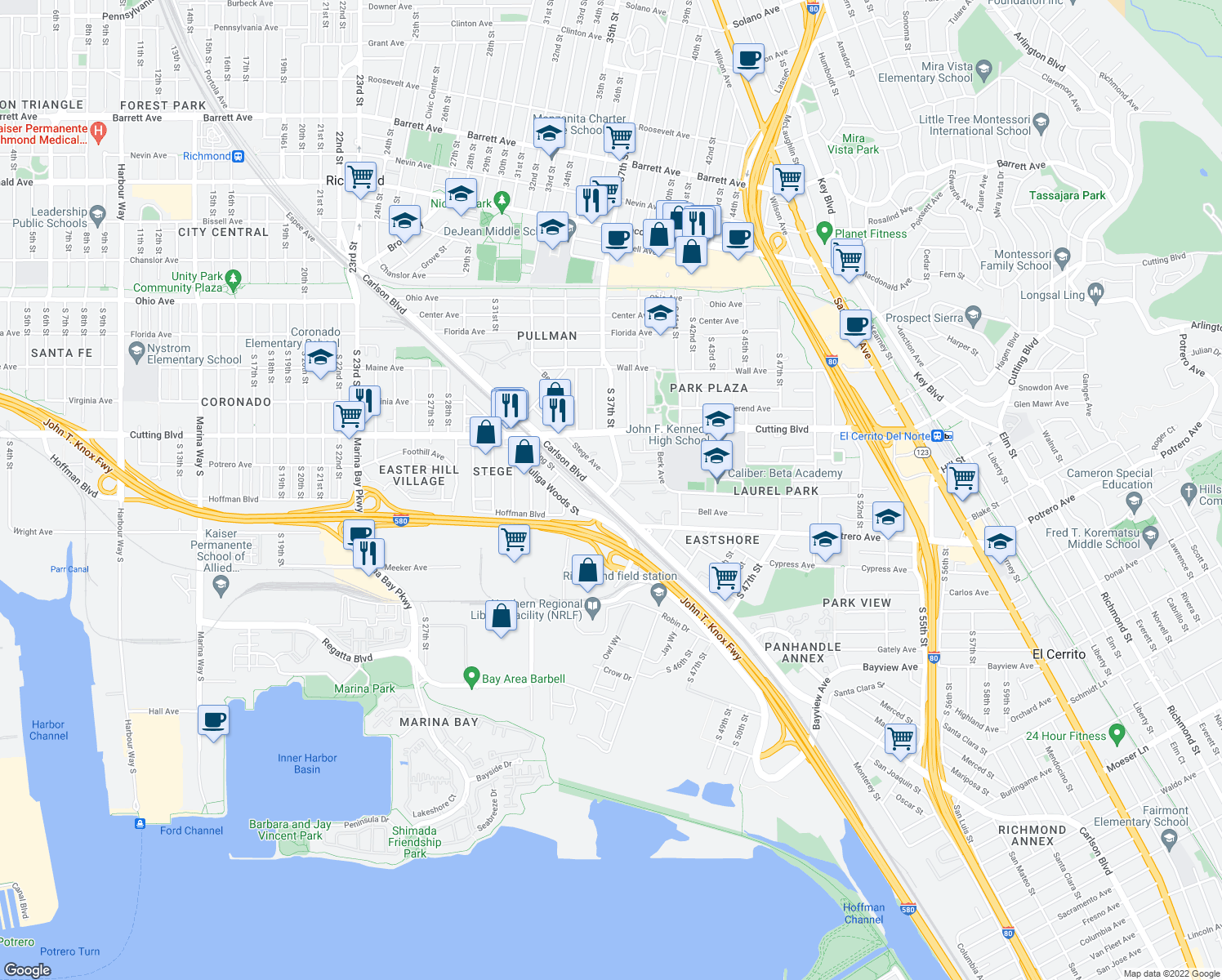 map of restaurants, bars, coffee shops, grocery stores, and more near 700-798 South 37th Street in Richmond