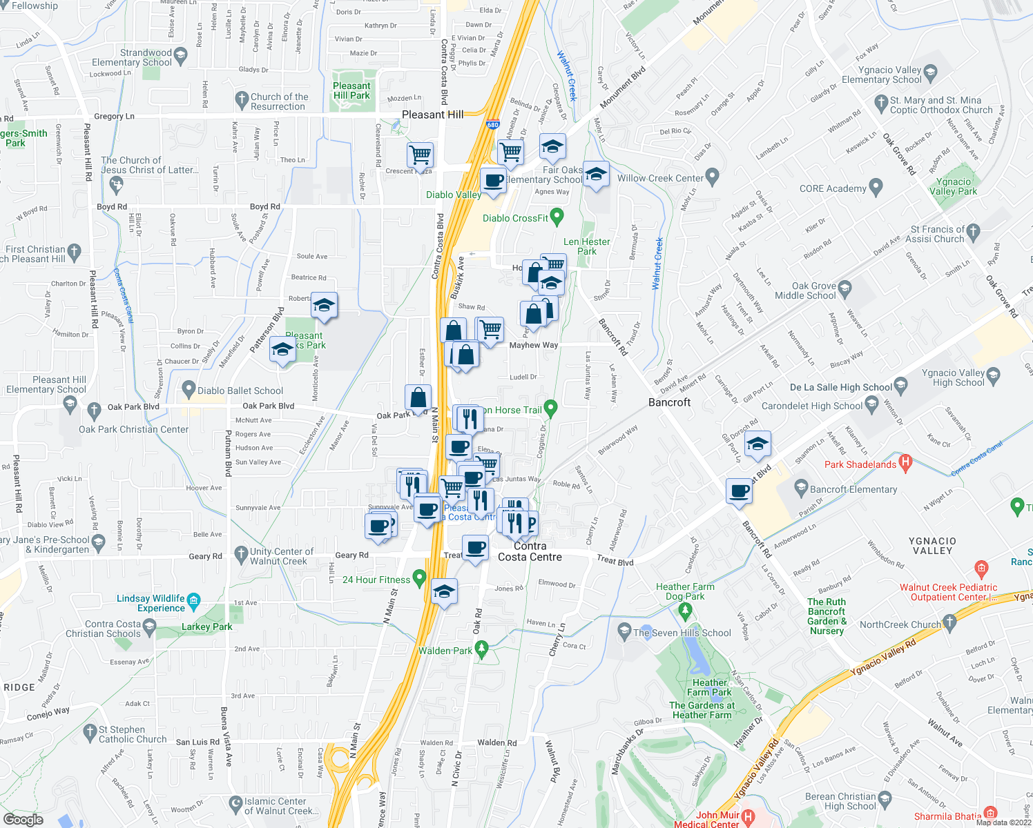 map of restaurants, bars, coffee shops, grocery stores, and more near 225-253 Coggins Dr in Pleasant Hill