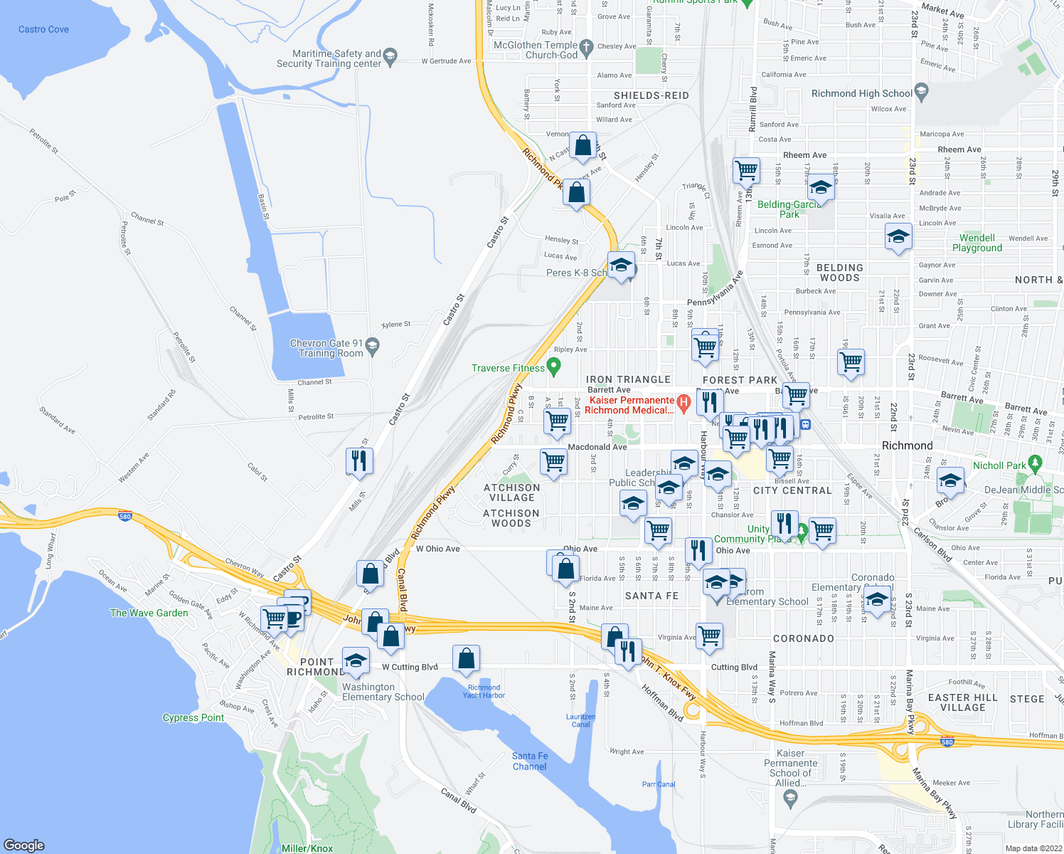 map of restaurants, bars, coffee shops, grocery stores, and more near 34-40 West Nevin Avenue in Richmond