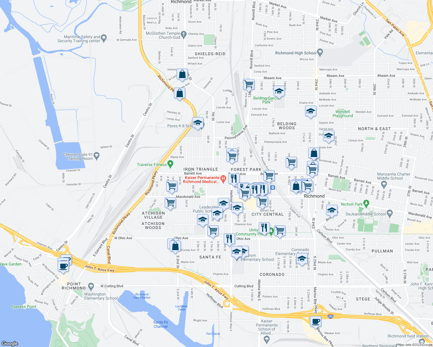 map of restaurants, bars, coffee shops, grocery stores, and more near 700 Barrett Ave in Richmond