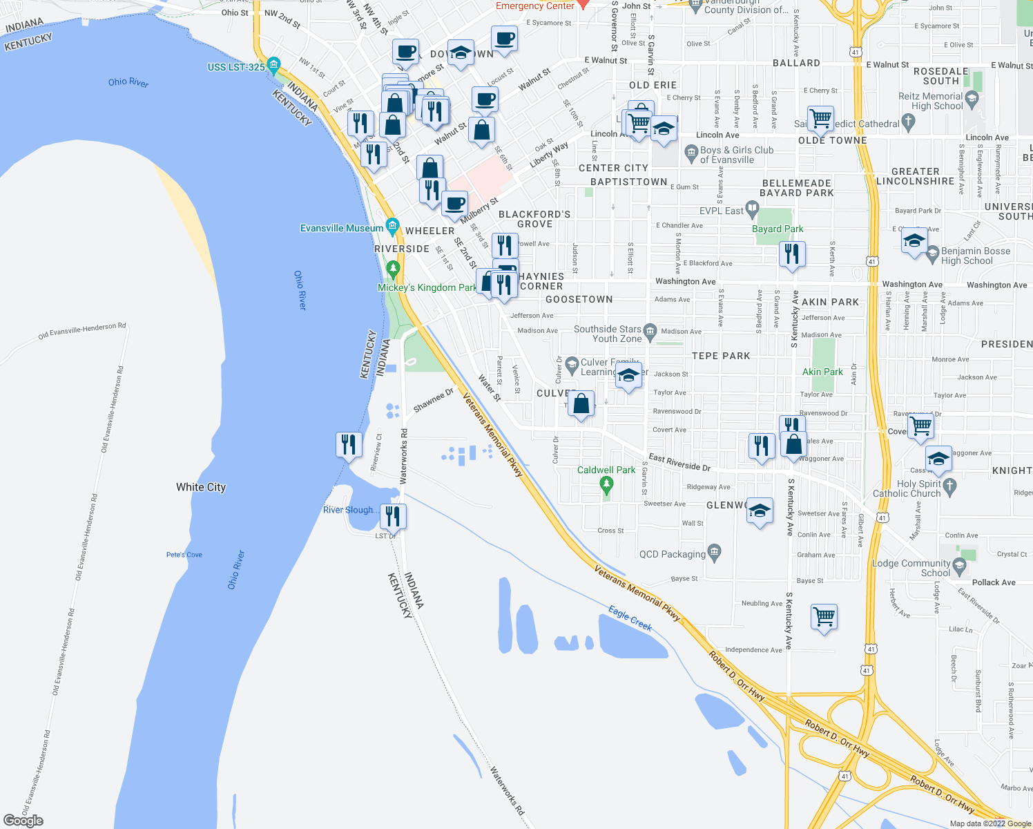 map of restaurants, bars, coffee shops, grocery stores, and more near 1522 Southeast Riverside Drive in Evansville