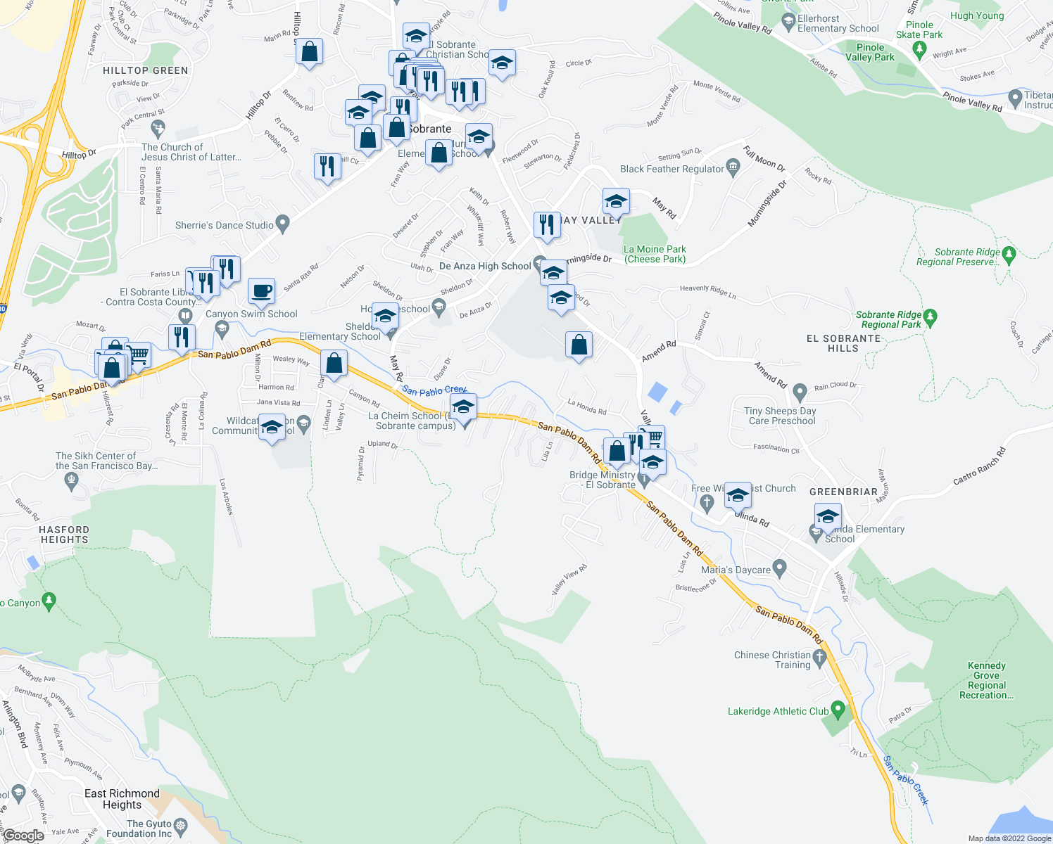 map of restaurants, bars, coffee shops, grocery stores, and more near 5017 San Pablo Dam Road in El Sobrante