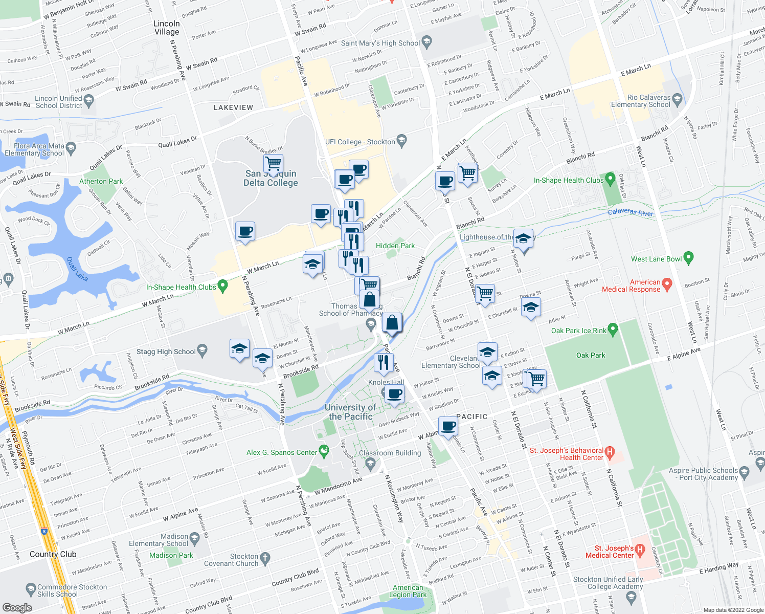 map of restaurants, bars, coffee shops, grocery stores, and more near 4000-4098 Pacific Ave in Stockton