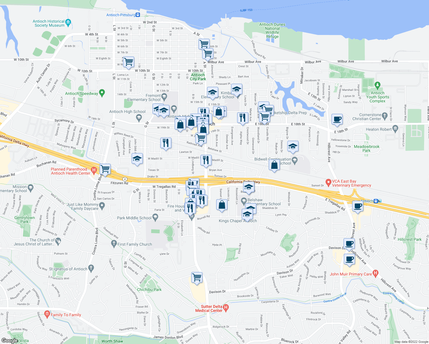 map of restaurants, bars, coffee shops, grocery stores, and more near 14 Bryan Avenue in Antioch