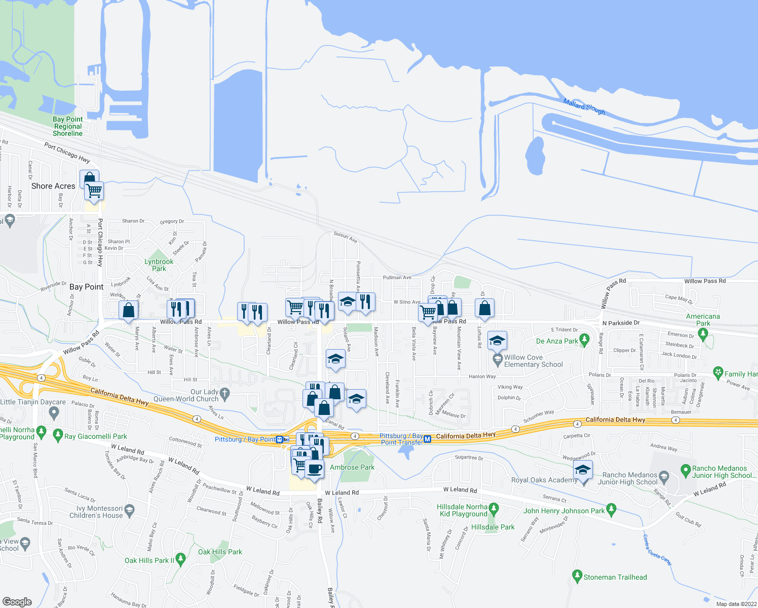 map of restaurants, bars, coffee shops, grocery stores, and more near 119 Gibson Avenue in Bay Point