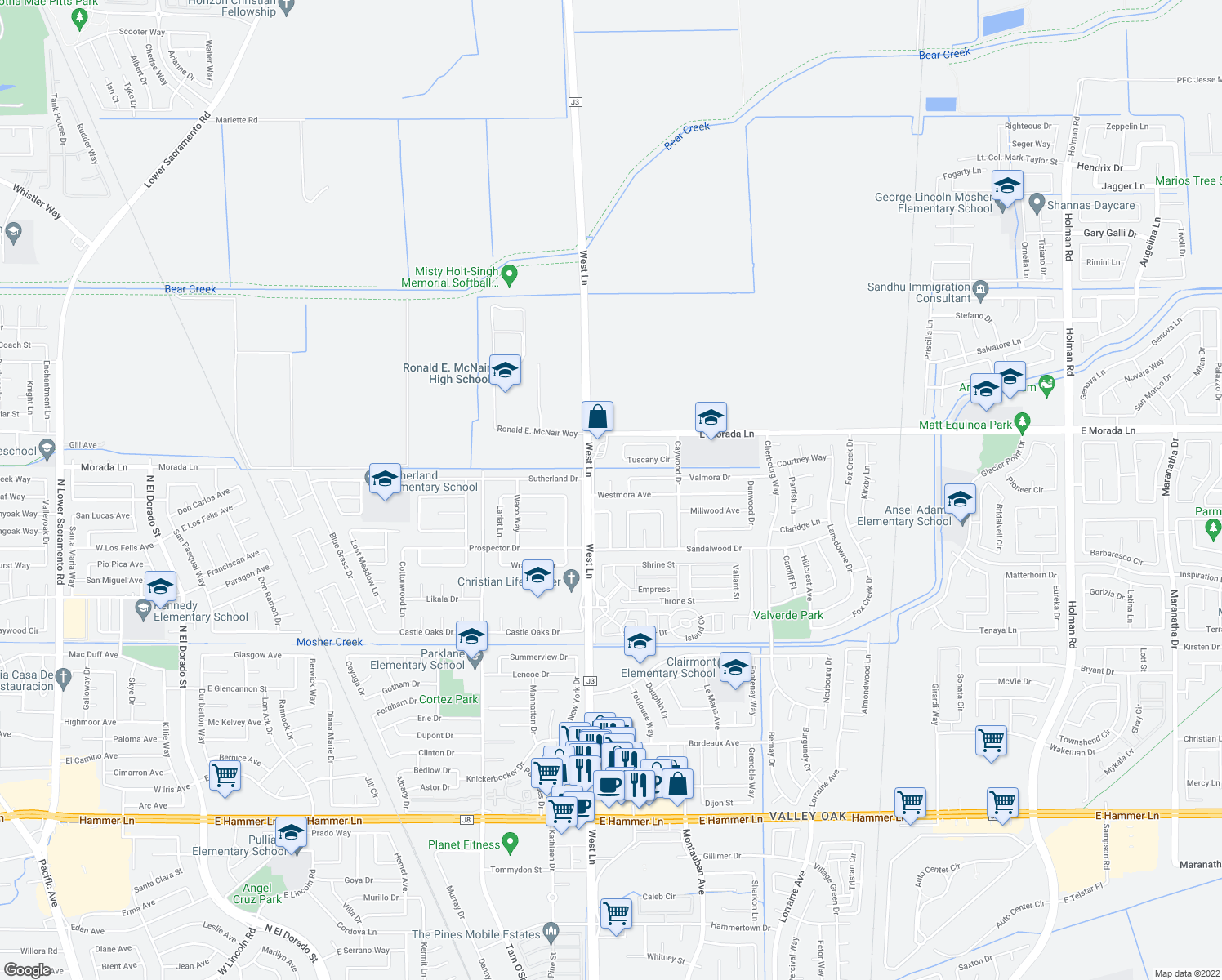 map of restaurants, bars, coffee shops, grocery stores, and more near 1504 Westmora Ave in Stockton