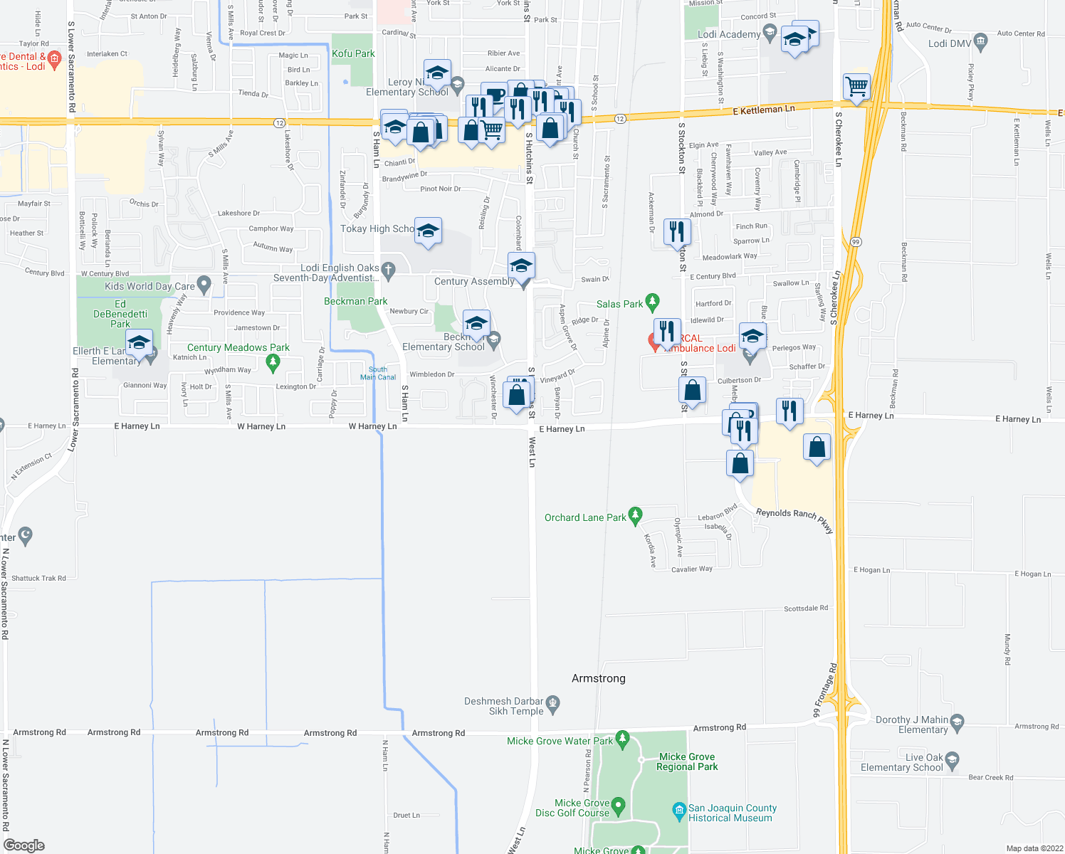 map of restaurants, bars, coffee shops, grocery stores, and more near E Harney Ln & S Hutchins St in Lodi