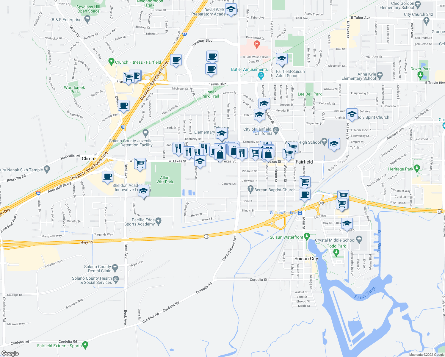 map of restaurants, bars, coffee shops, grocery stores, and more near Canova Lane in Fairfield