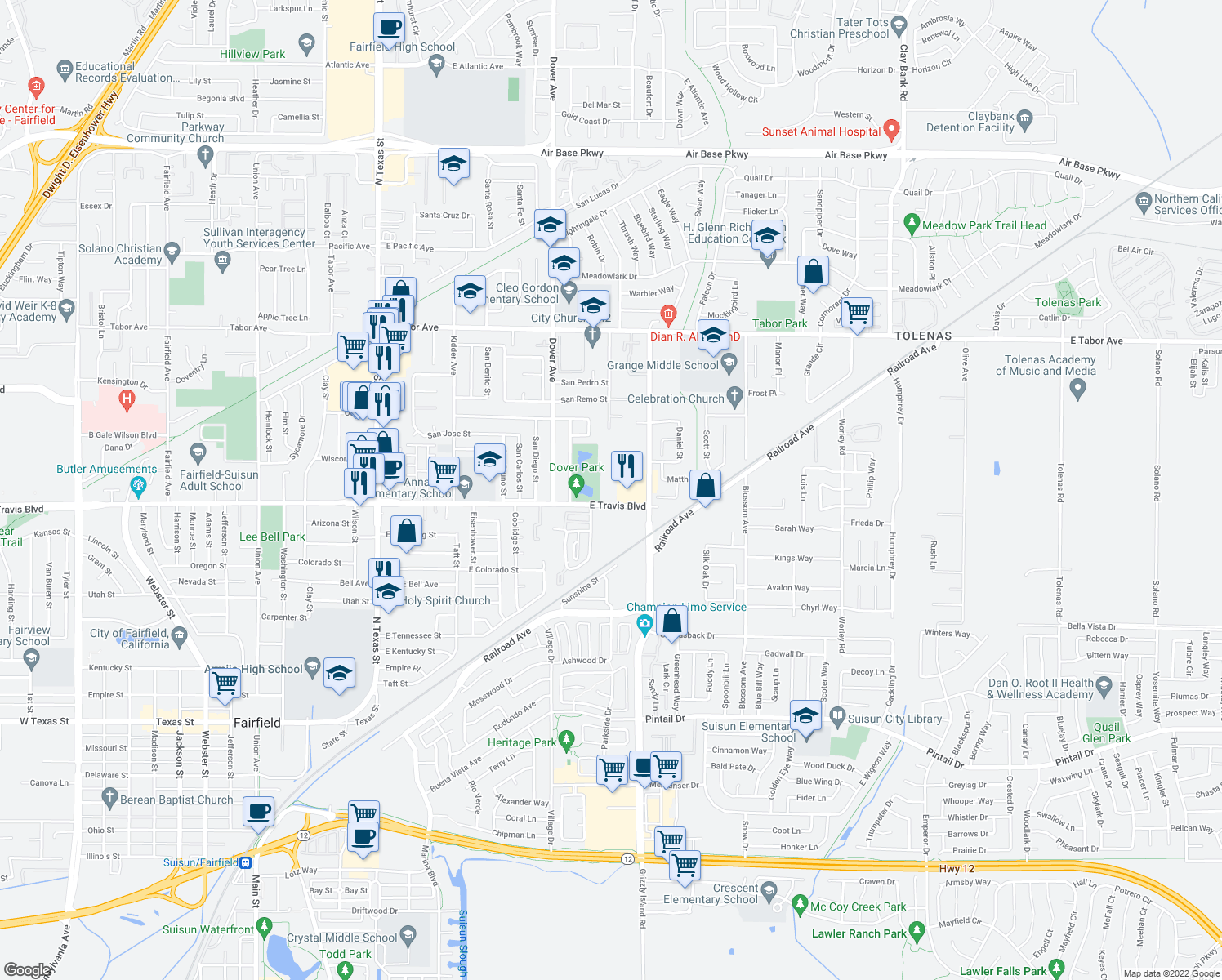 map of restaurants, bars, coffee shops, grocery stores, and more near 840 E Travis Blvd in Fairfield