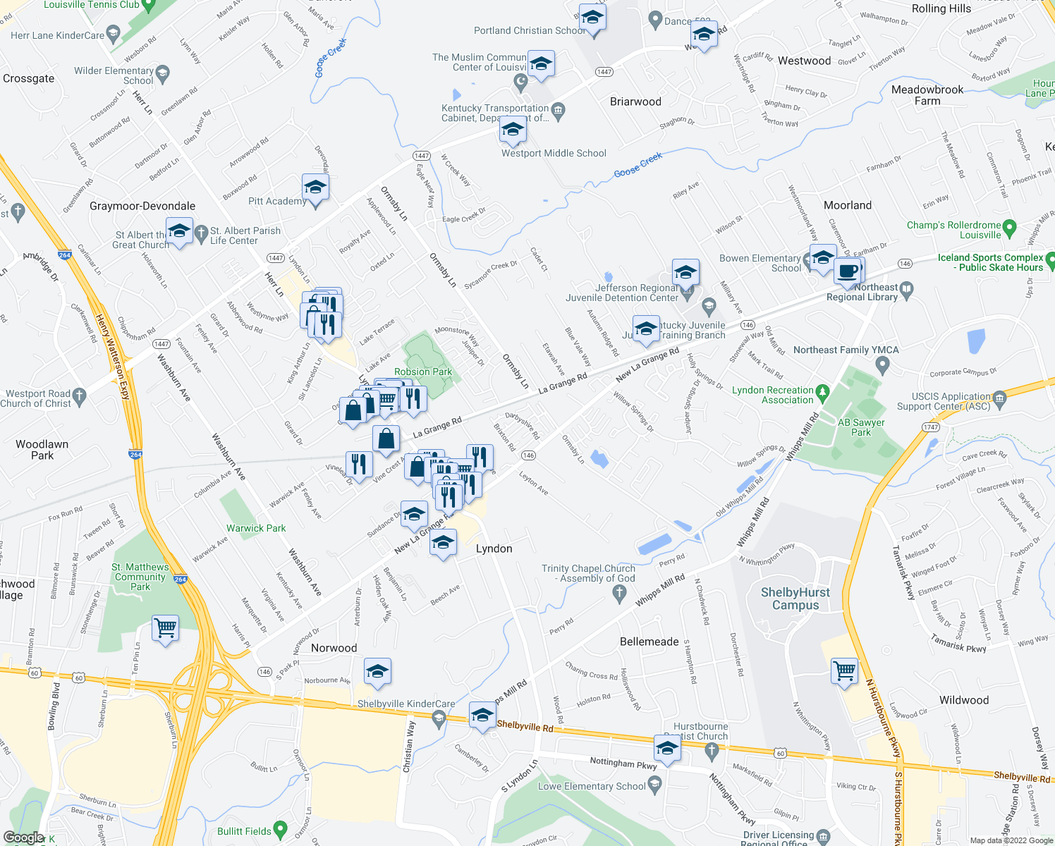 map of restaurants, bars, coffee shops, grocery stores, and more near 1006-1198 Wexbury Road in Lyndon