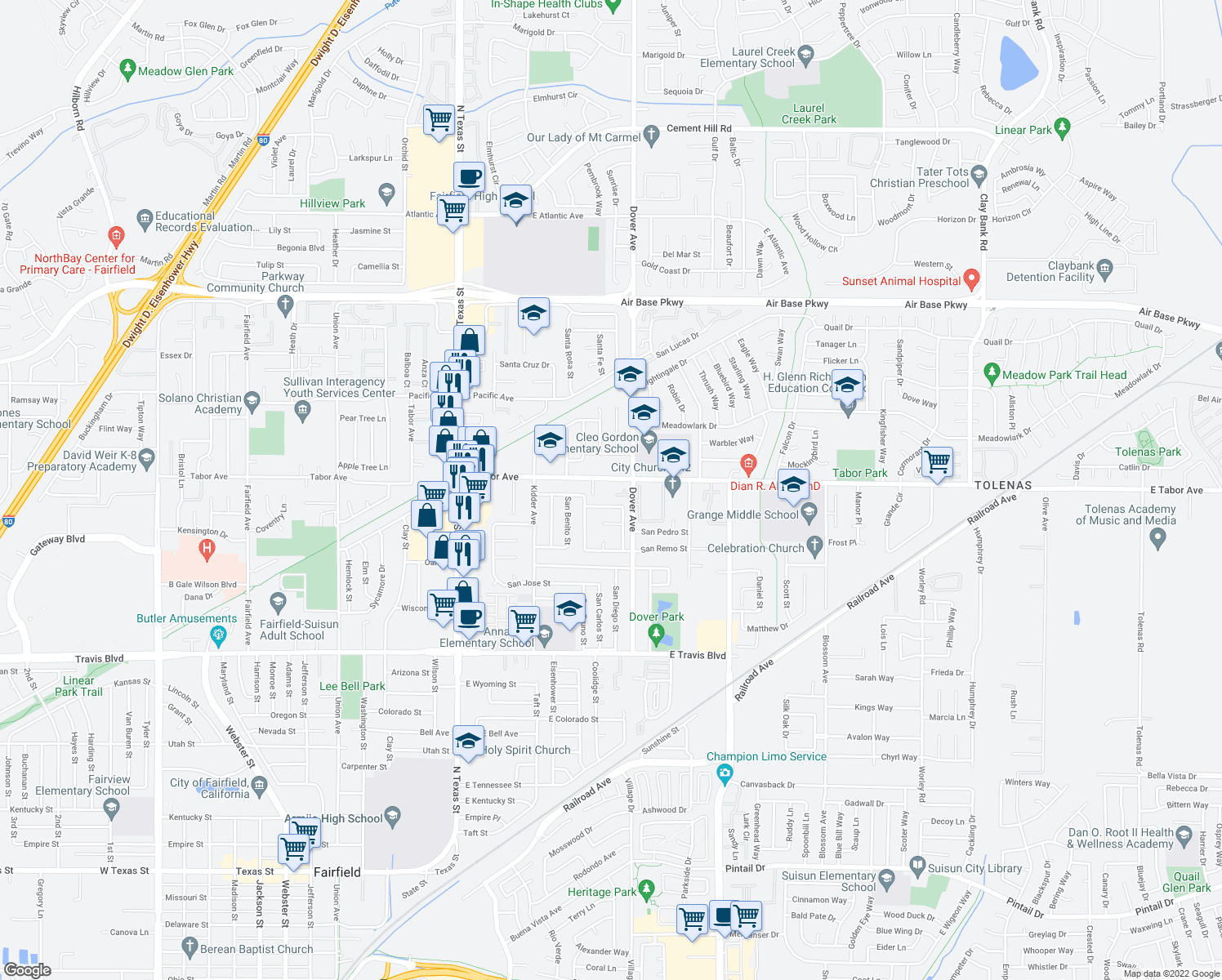 map of restaurants, bars, coffee shops, grocery stores, and more near 693 E Tabor Ave in Fairfield