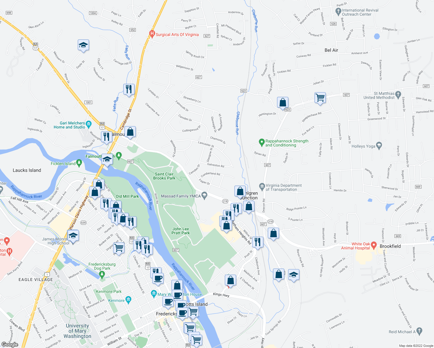map of restaurants, bars, coffee shops, grocery stores, and more near 205 Castle Rock Drive in Fredericksburg