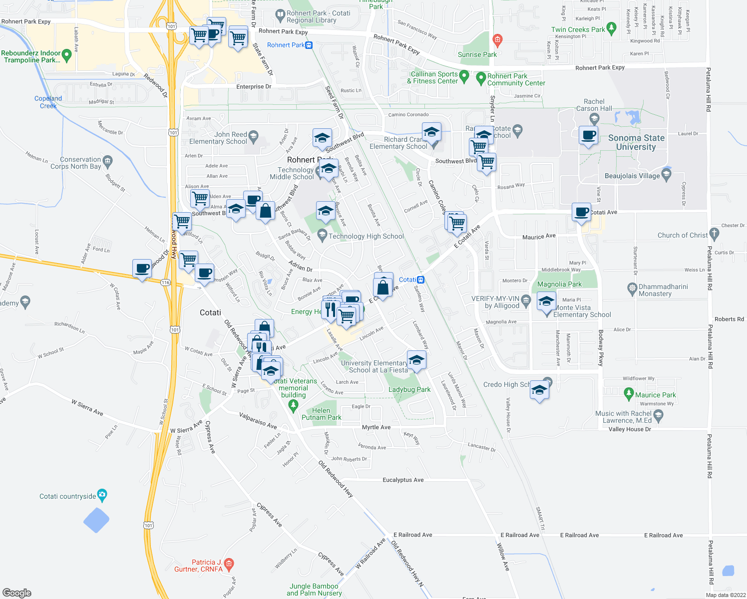 map of restaurants, bars, coffee shops, grocery stores, and more near 8270 Lancaster Drive in Rohnert Park