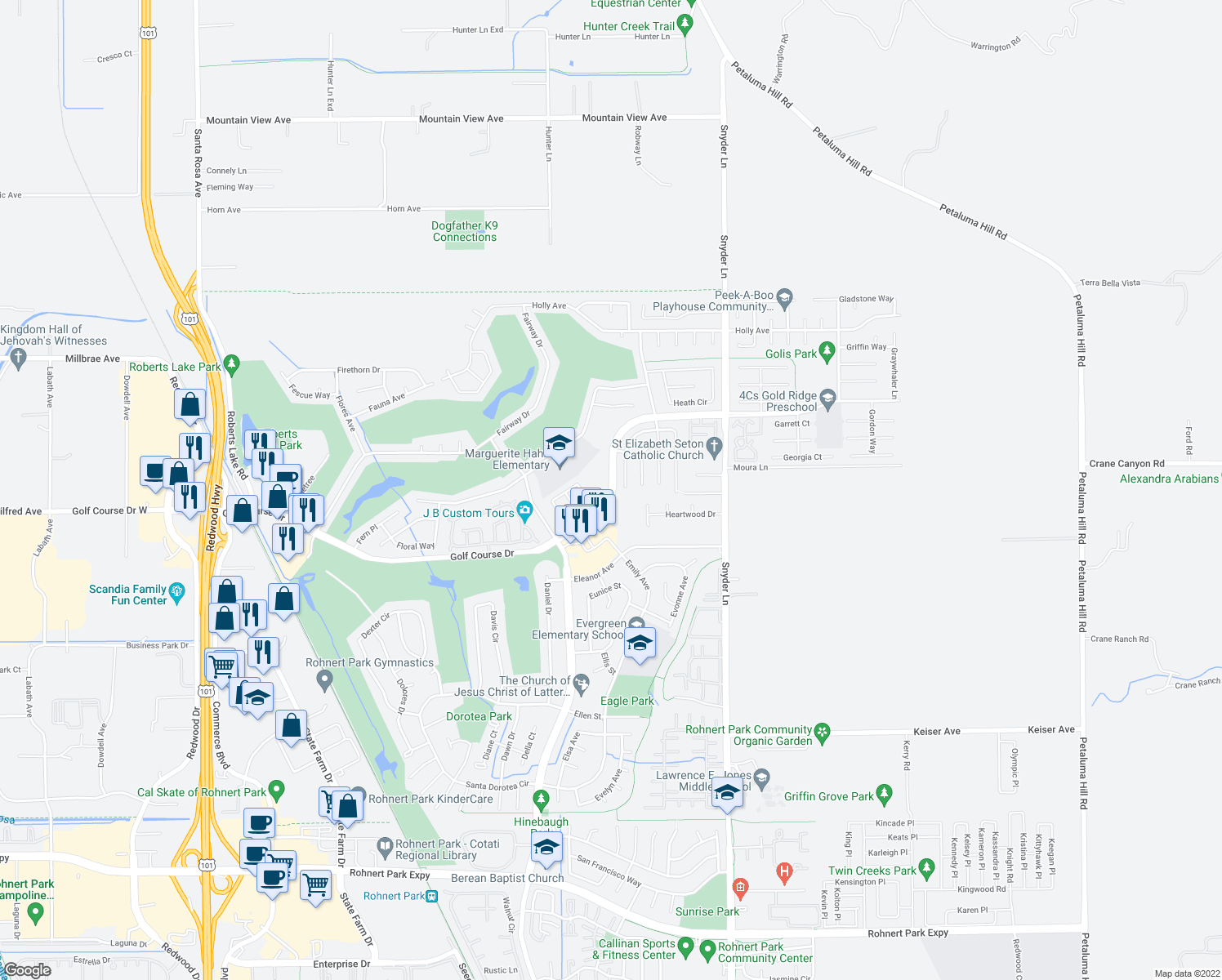 map of restaurants, bars, coffee shops, grocery stores, and more near 925 Hacienda Circle in Rohnert Park