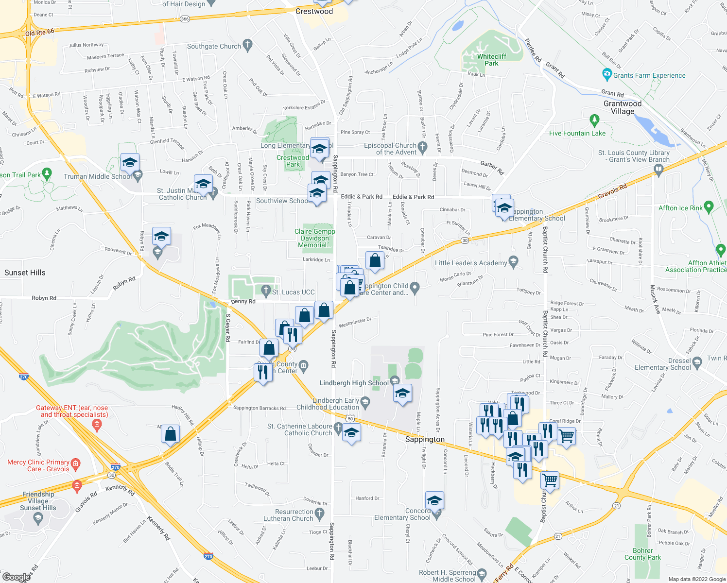map of restaurants, bars, coffee shops, grocery stores, and more near 9811-9899 Aleppo Drive in Sappington