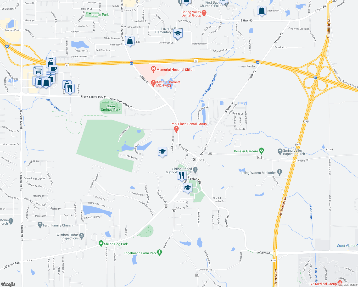 map of restaurants, bars, coffee shops, grocery stores, and more near Cross St & Beck Ln in Shiloh
