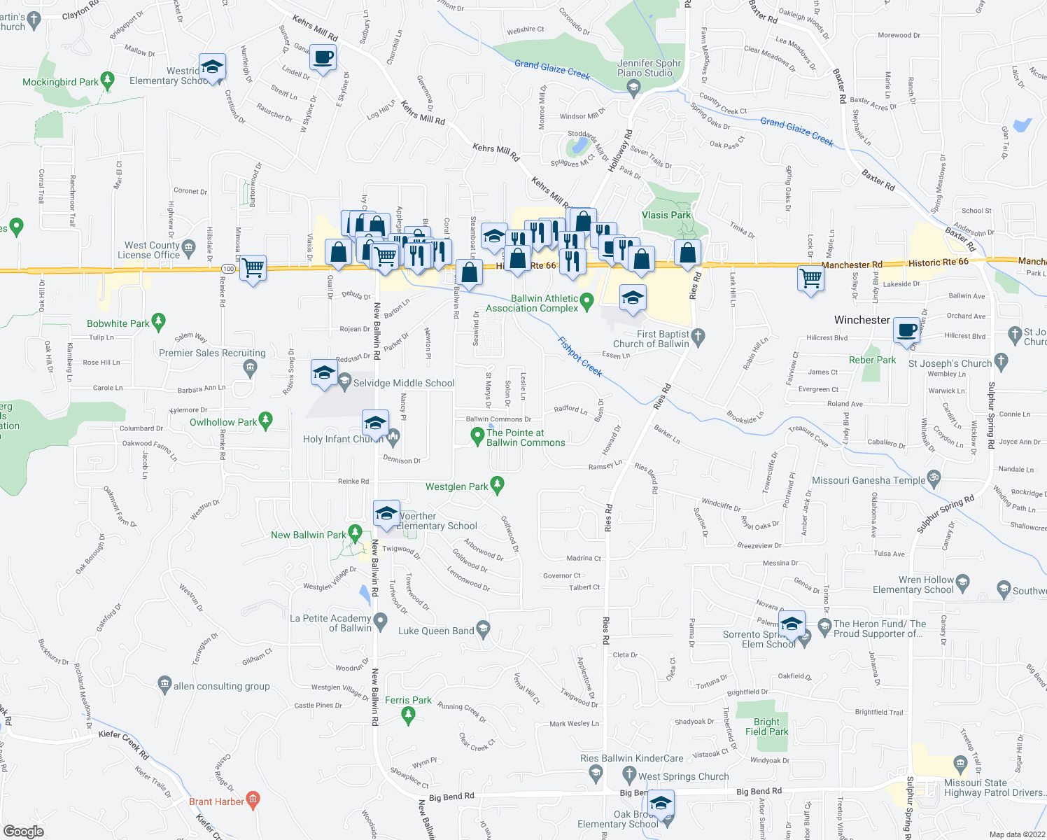 map of restaurants, bars, coffee shops, grocery stores, and more near Ballwin Commons Drive & Leslie Lane in Ballwin