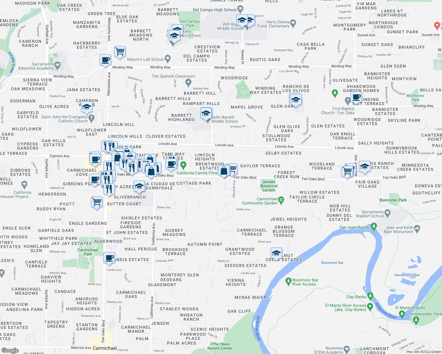 map of restaurants, bars, coffee shops, grocery stores, and more near 8229 Fair Oaks Boulevard in Carmichael