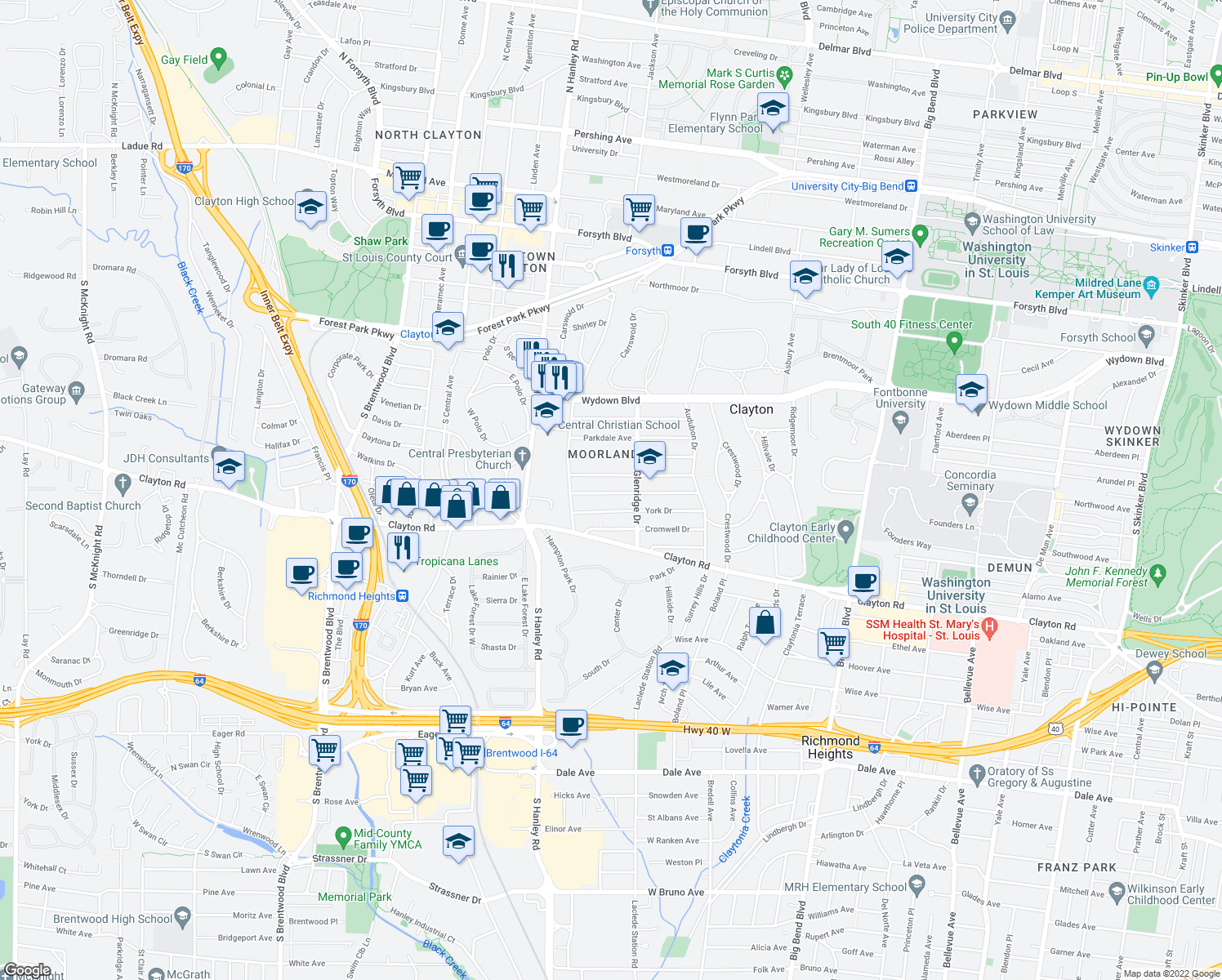 map of restaurants, bars, coffee shops, grocery stores, and more near 7525 Wellington Way in Clayton