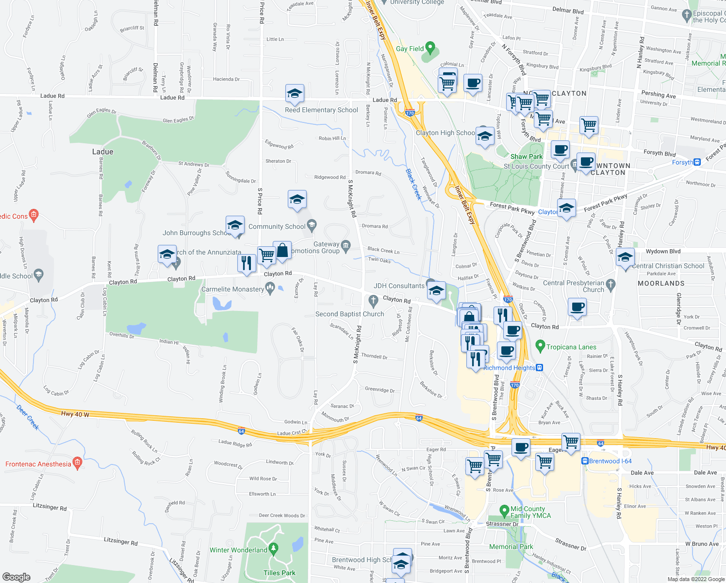 map of restaurants, bars, coffee shops, grocery stores, and more near 1001 S McKnight Rd in St Louis