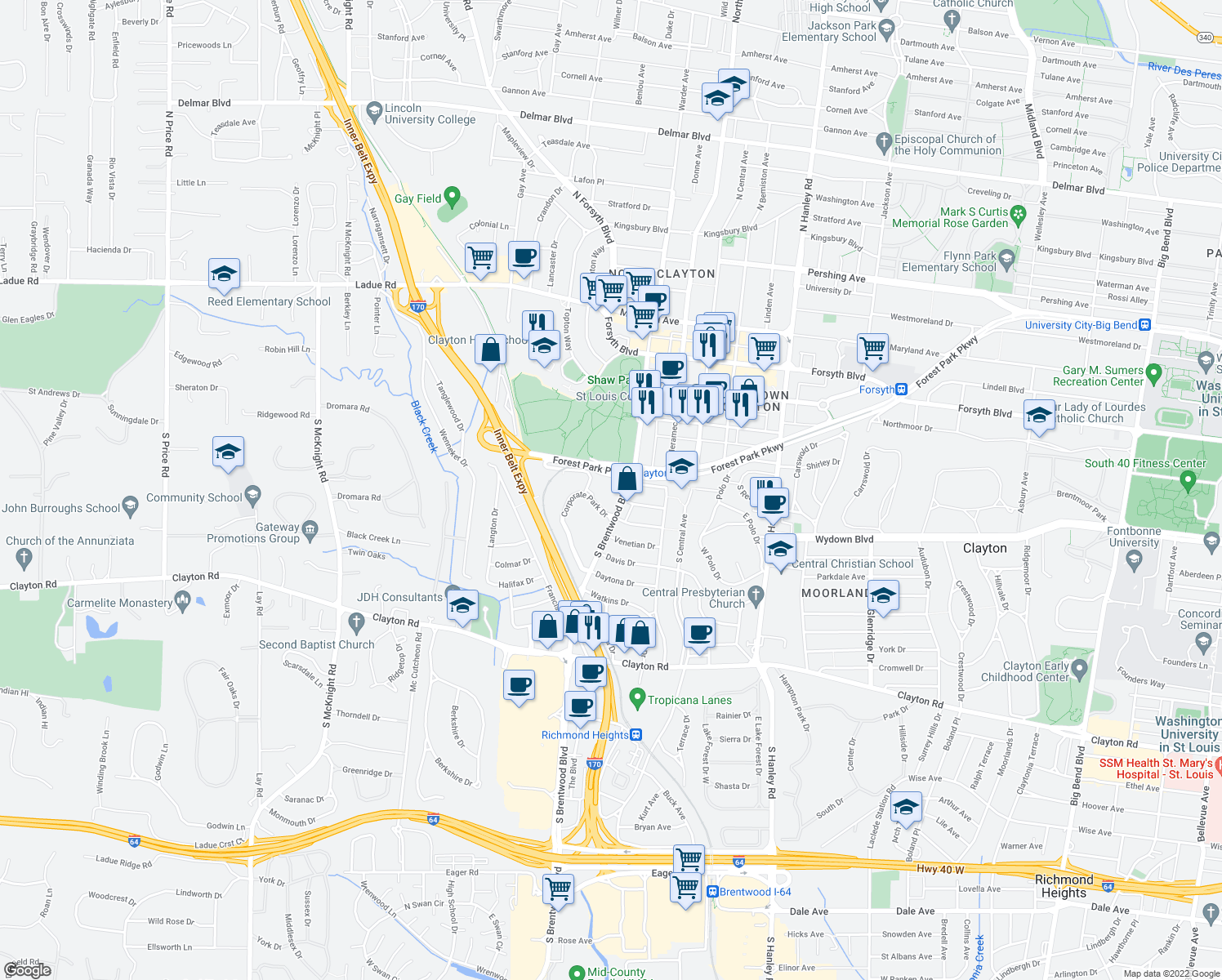 map of restaurants, bars, coffee shops, grocery stores, and more near 501 S Brentwood Blvd in St Louis